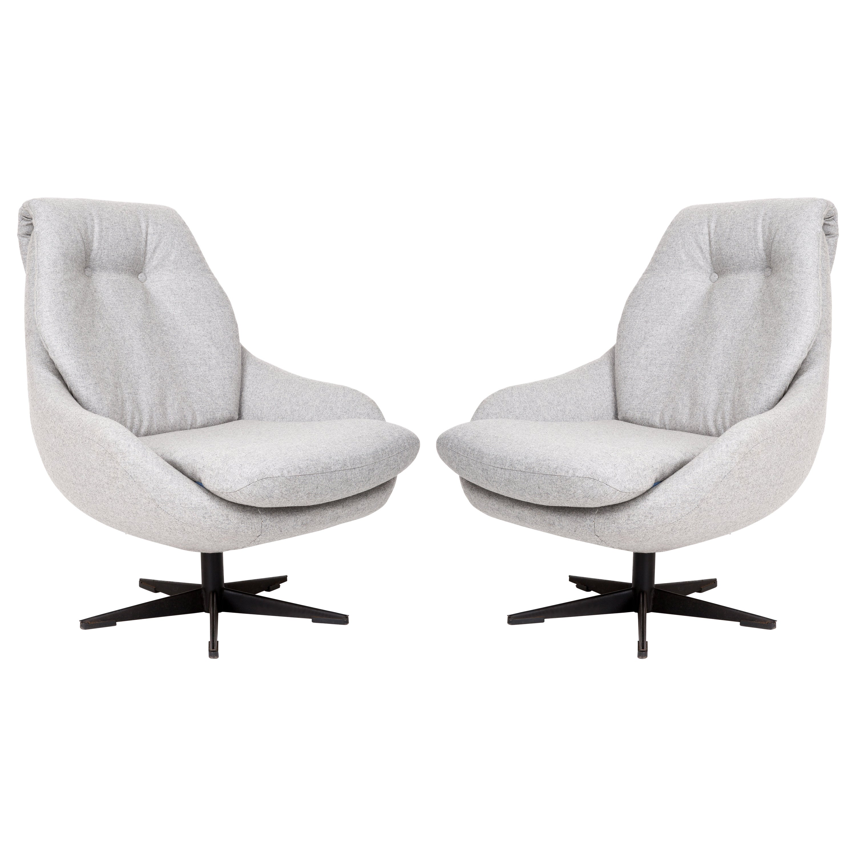 Set of Two 20th Century Vintage Gray Swivel Armchairs, 1960s
