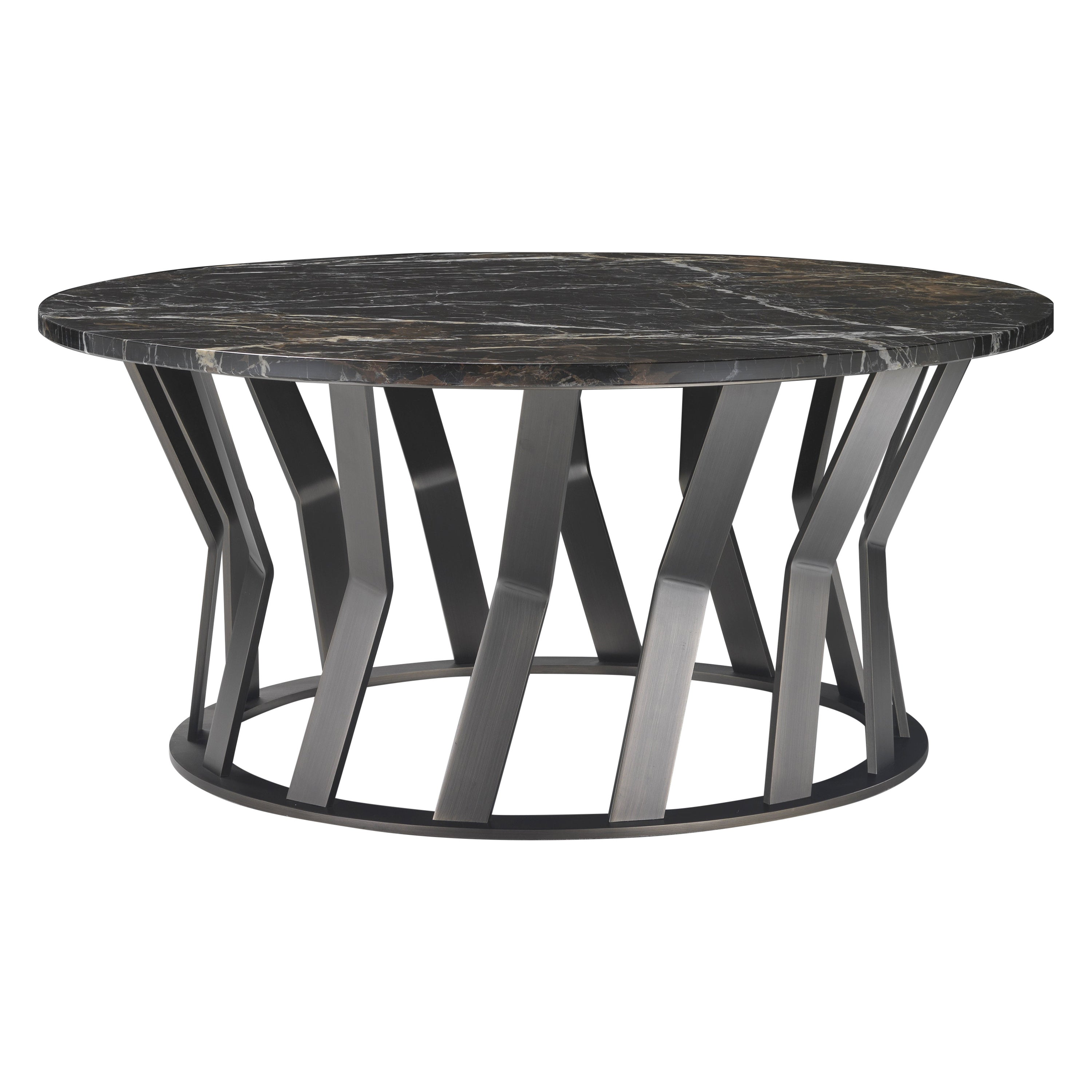 Ray Coffee Table with Black & Gold Marble Top and Bronze Metal Base by Zanaboni
