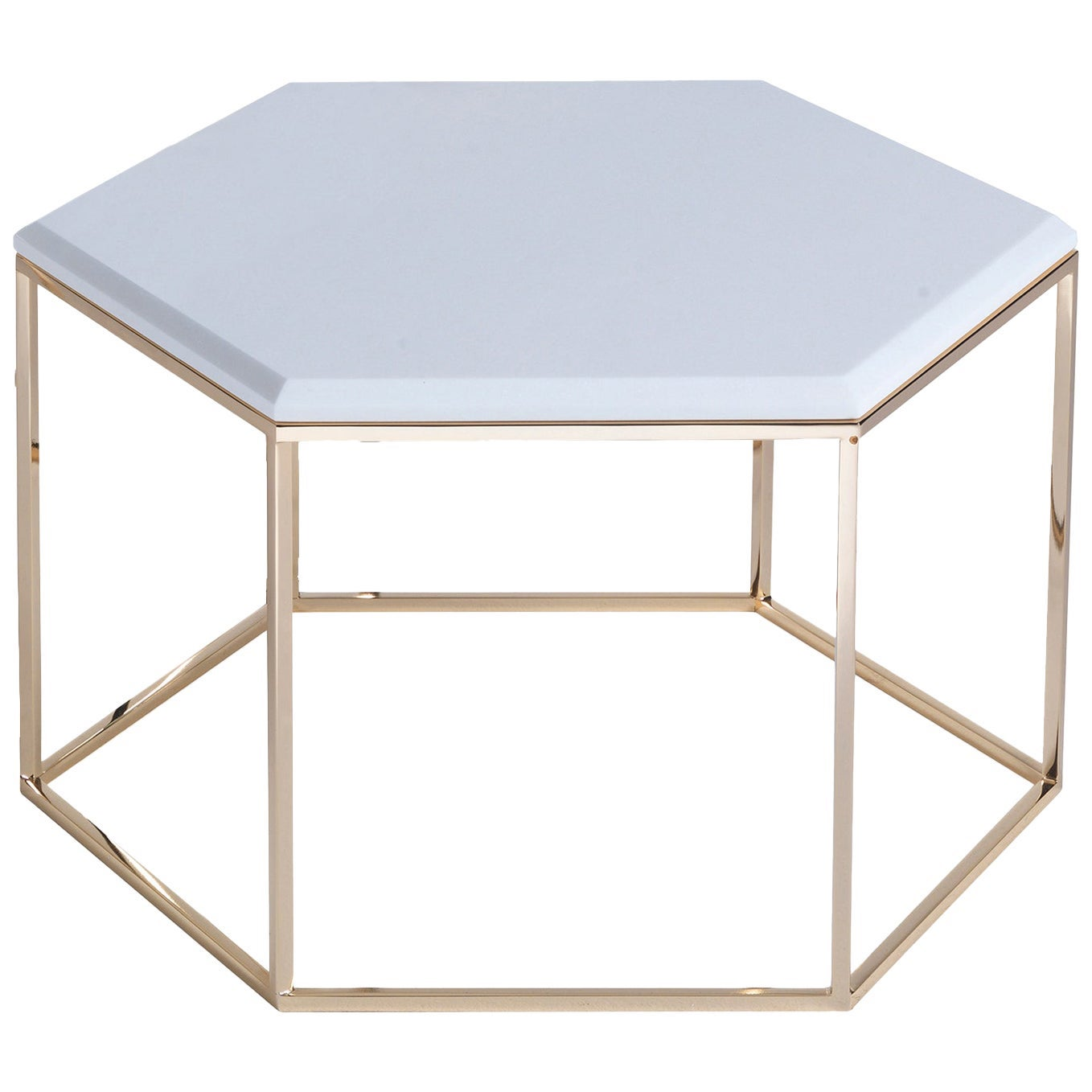 T178/S Hexagonal Small Coffee Table with Gold Base and Marble Top by Zanaboni