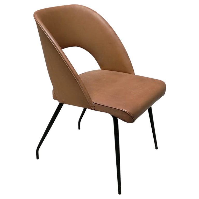 Italian Light Brown Faux Leather Seat and Back and Metal Legs Armchair, 1960s