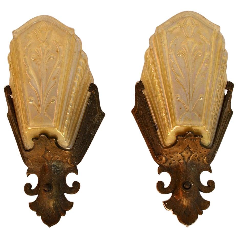 Elegant Pair of 1920s Spanish Deco Sconces