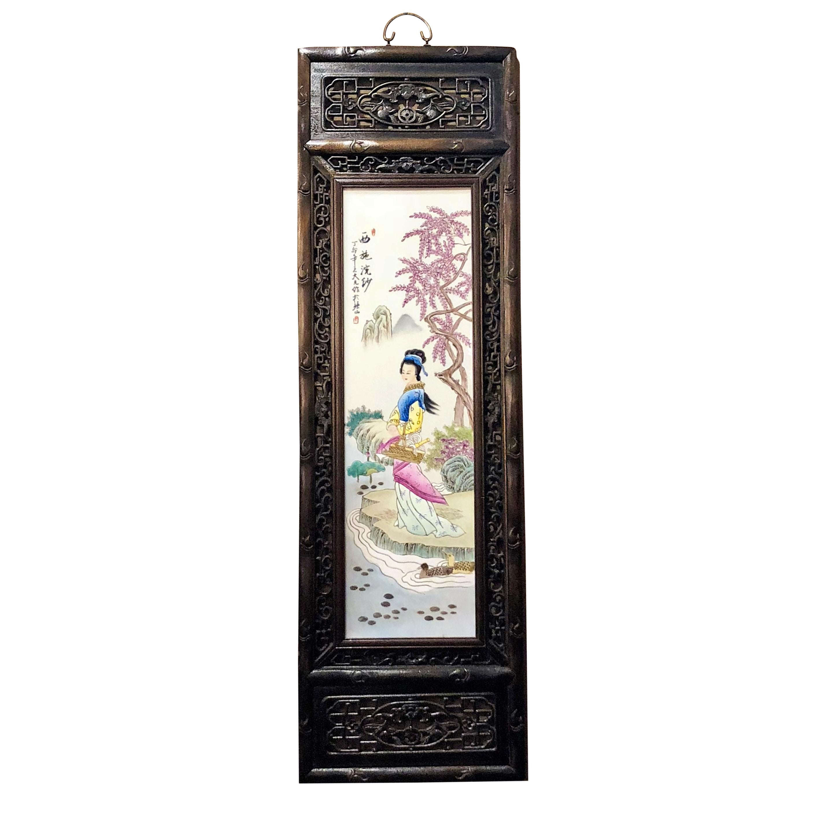 Pair of Antique 19th Century Chinese Famille Rose Panels