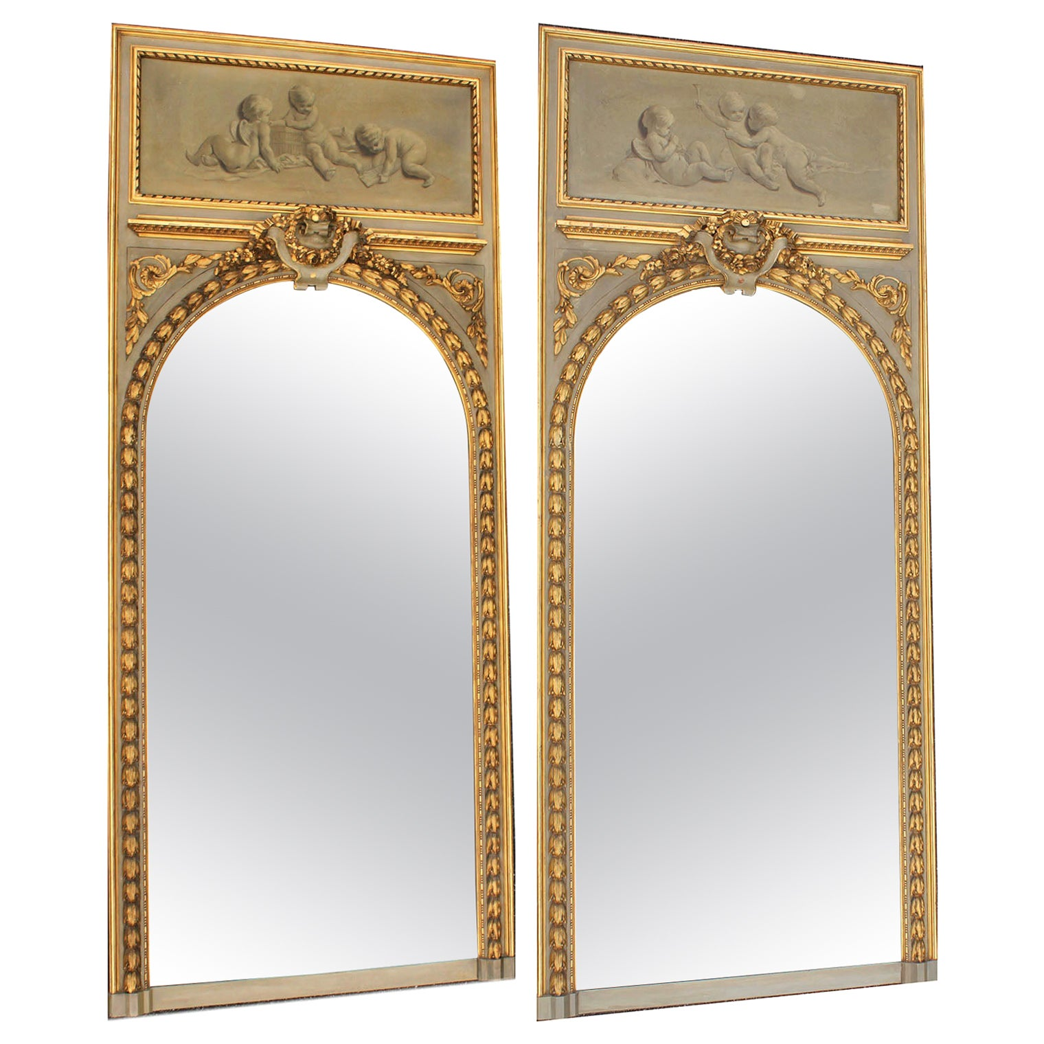 Pair of French 19th-20th Century Louis XV Style Giltwood Carved Trumeau Mirrors