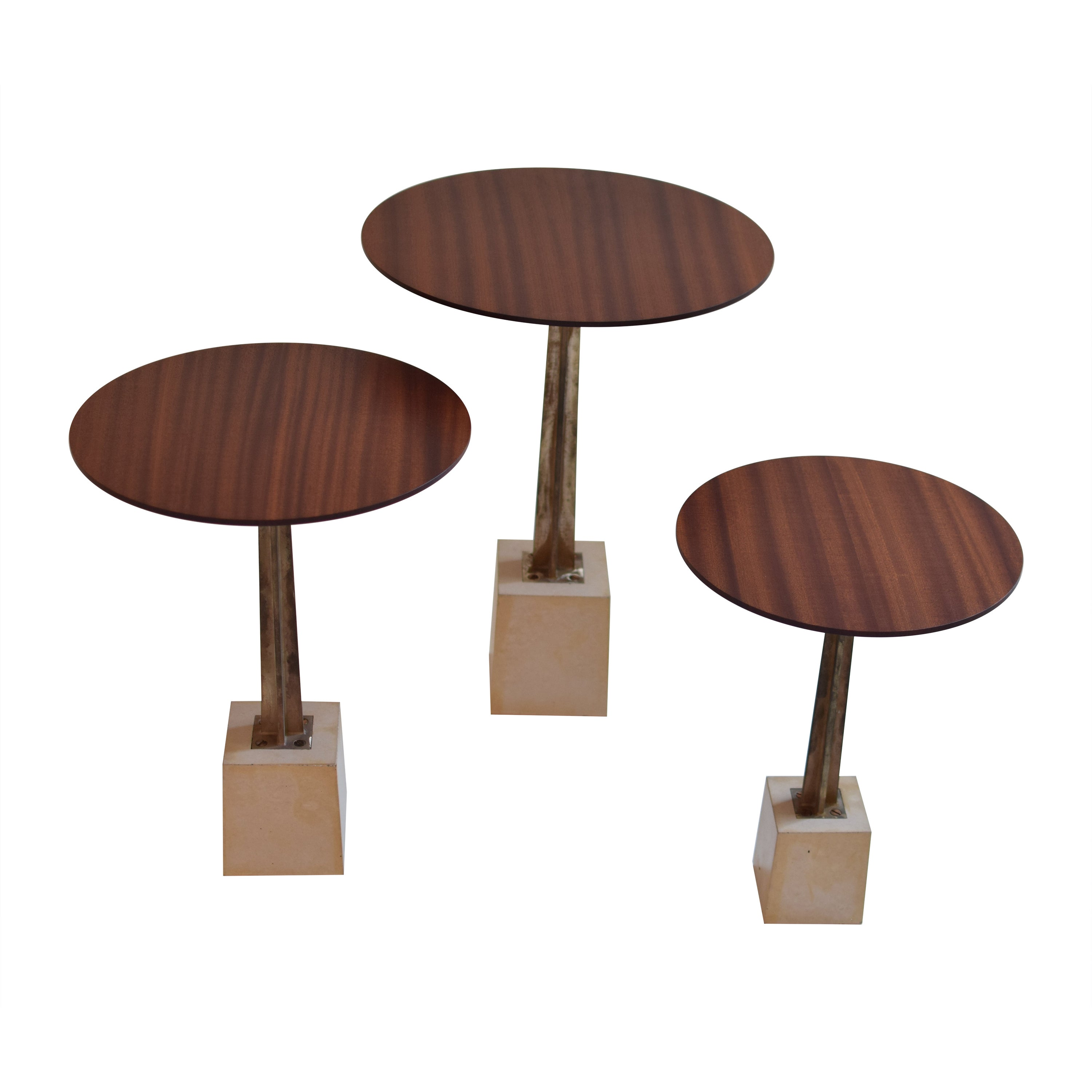 Round Wood, Bronze and Concrete Side Table