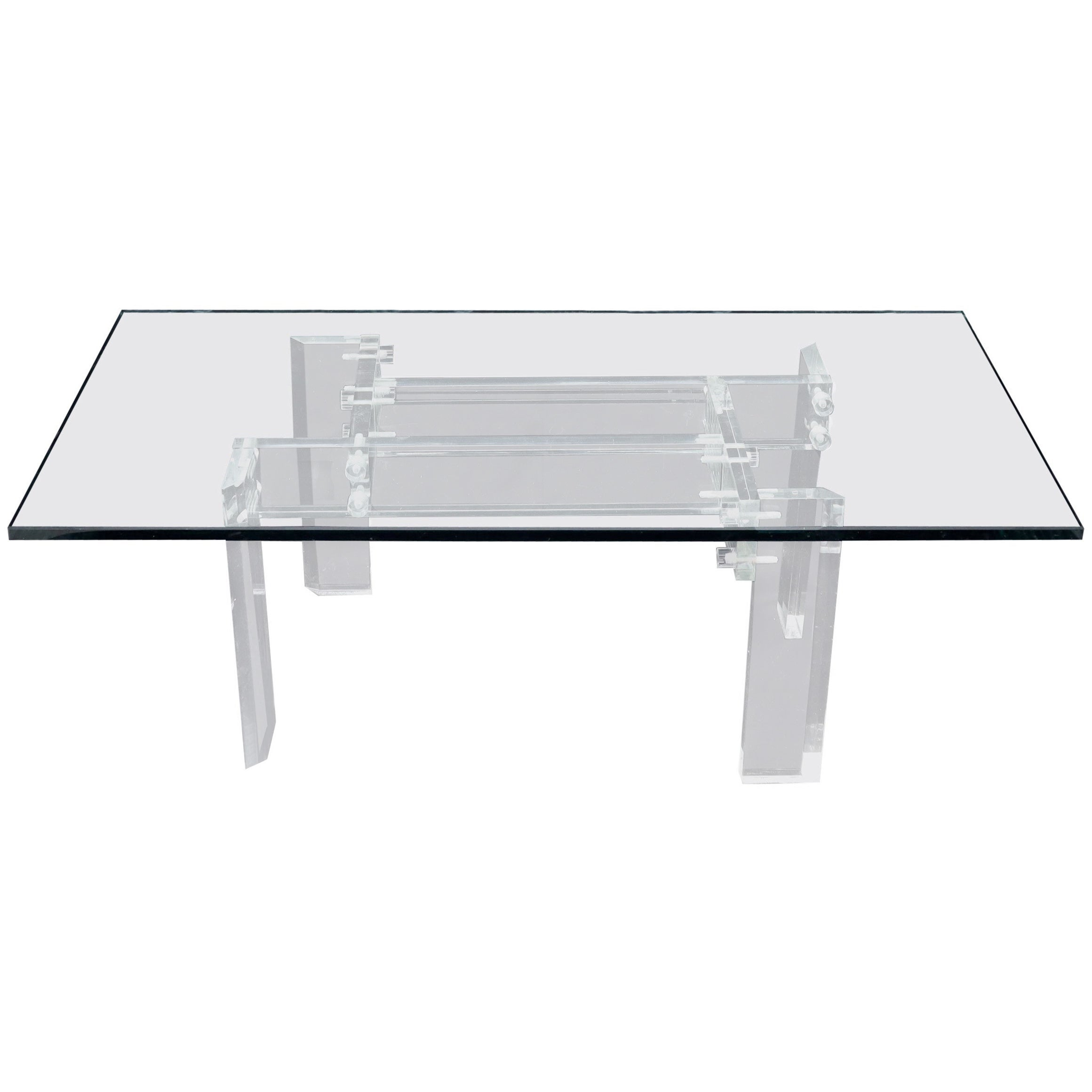 Rectangular Glass top Lucite Base Coffee Table