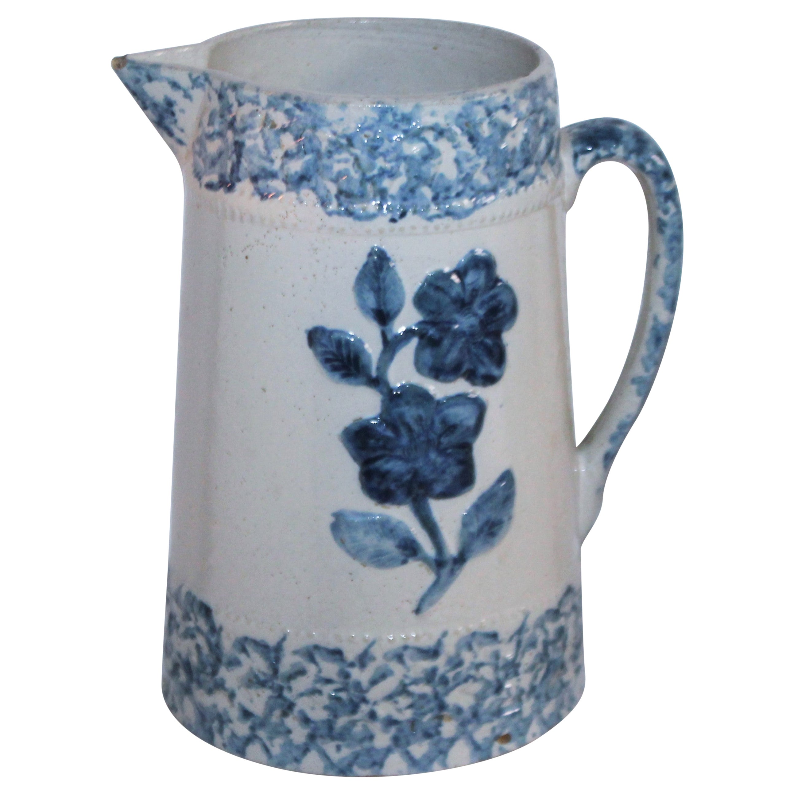 19th Century Floral Sponge Ware Pitcher