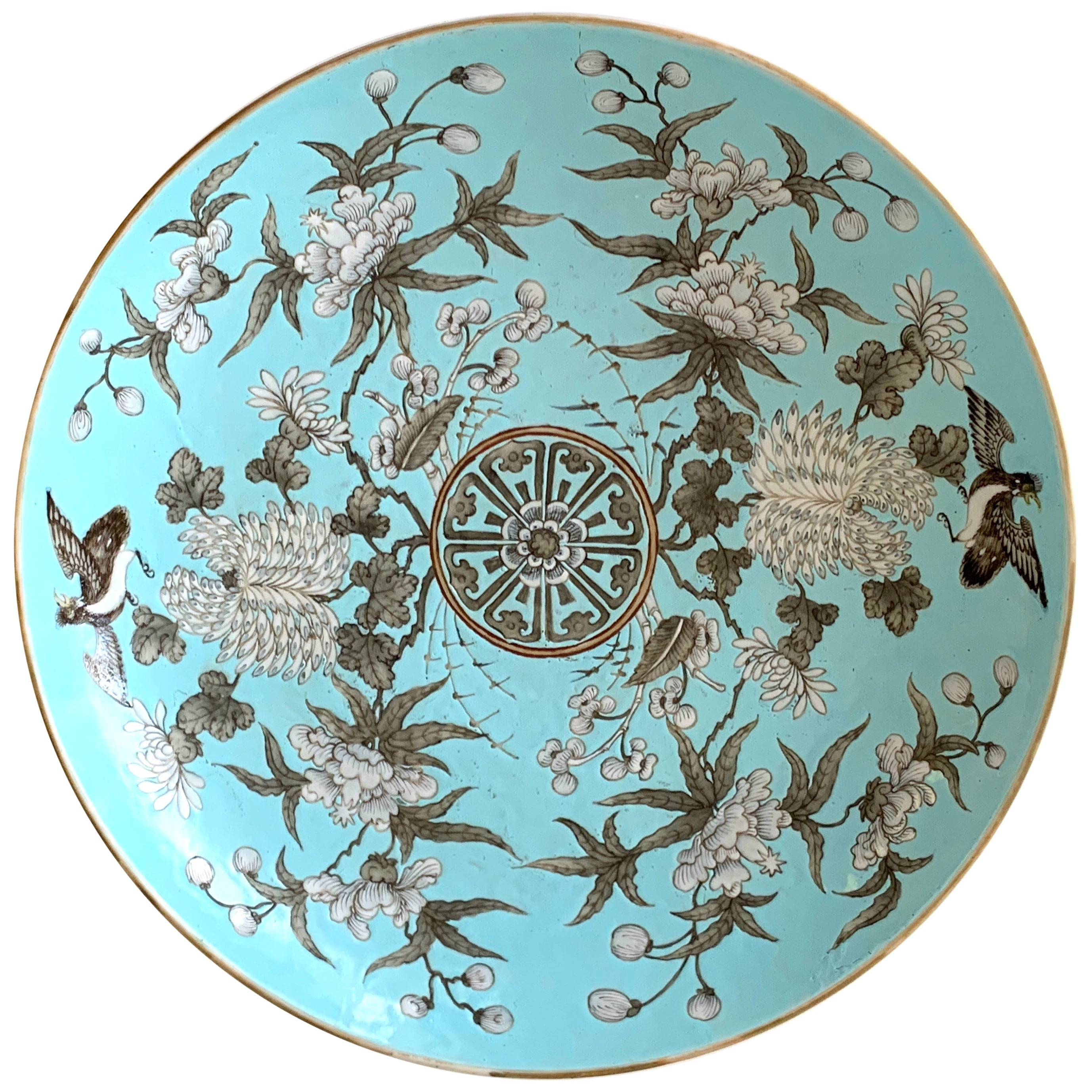 19th Century Chinese Export Powder Blue Ho Ho Bird Motif Charger