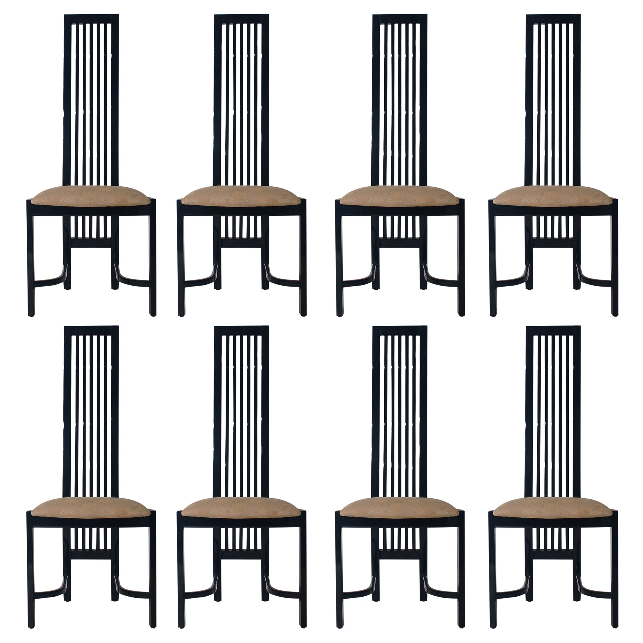 Set of Eight Postmodern High Back Spindle Dining Chairs from Spain in Black