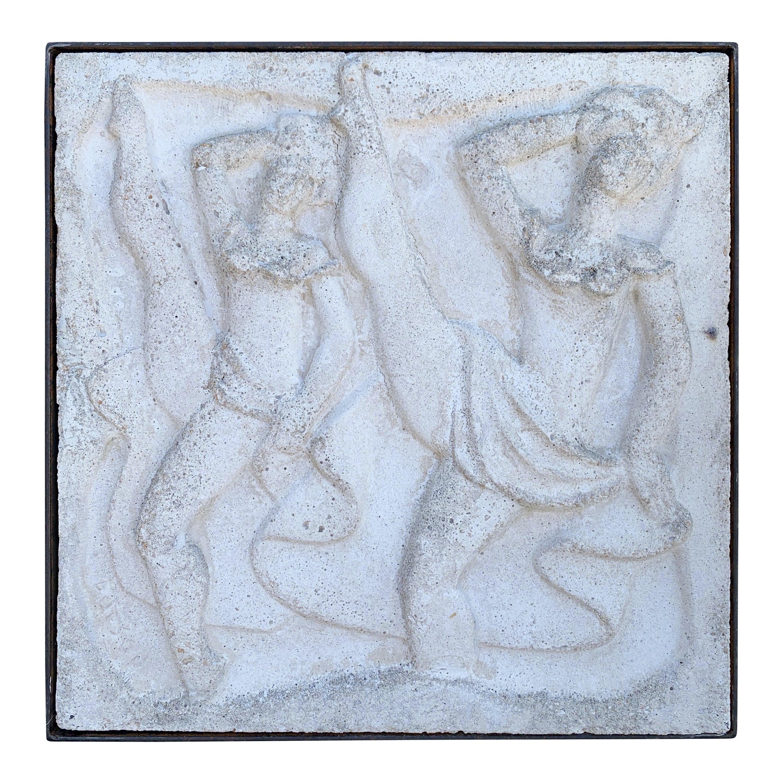"""Chuck Dodson Wall-Mounted Cast Concrete Art Deco Plaque """"Dancers"""""""