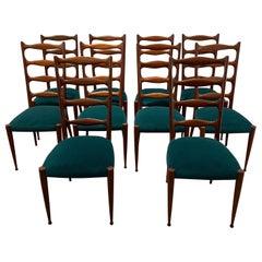 Set of 10 Italian Chairs, 1940s