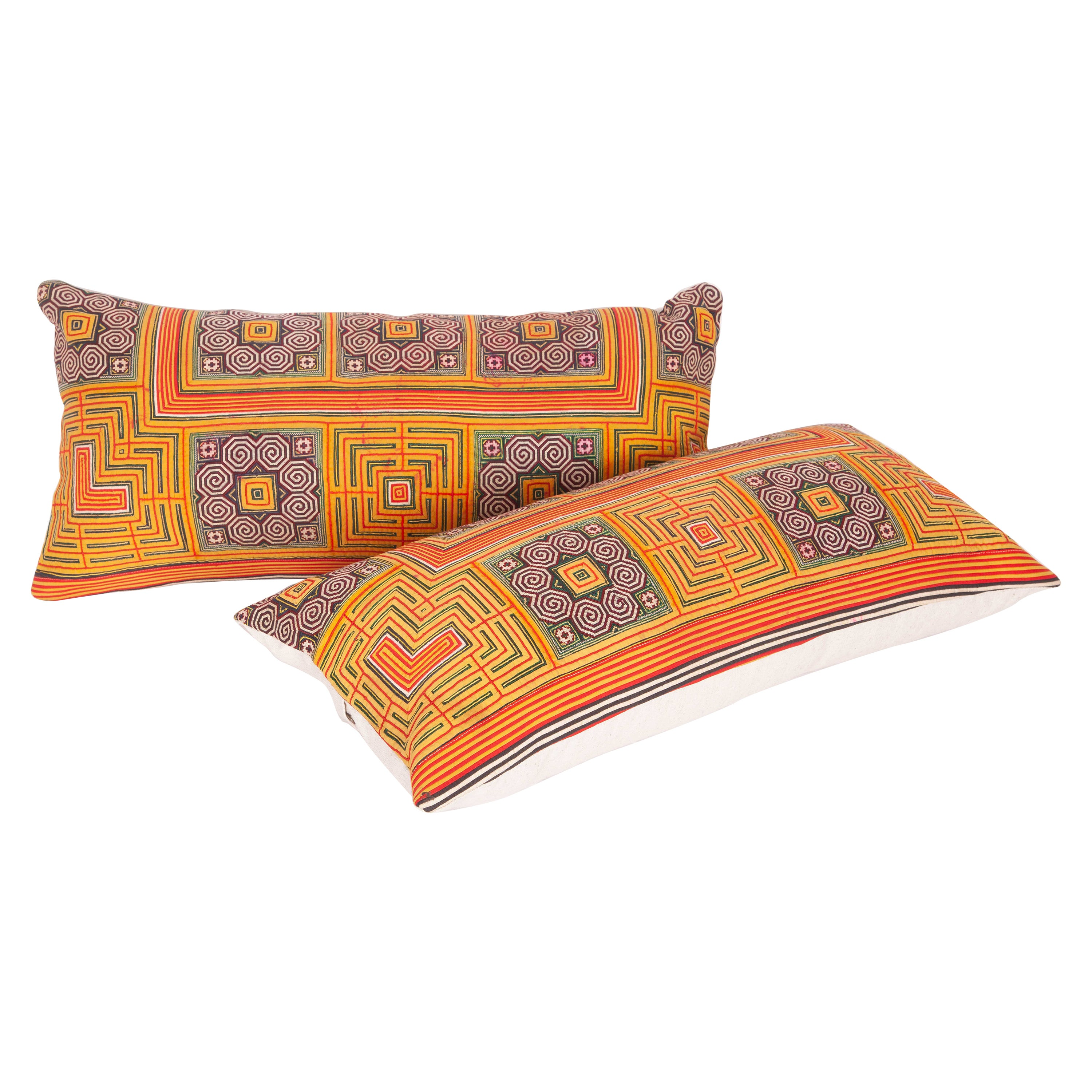 Vintage Hmong Hill Tribe Pillow Cases, Mid-20th Century