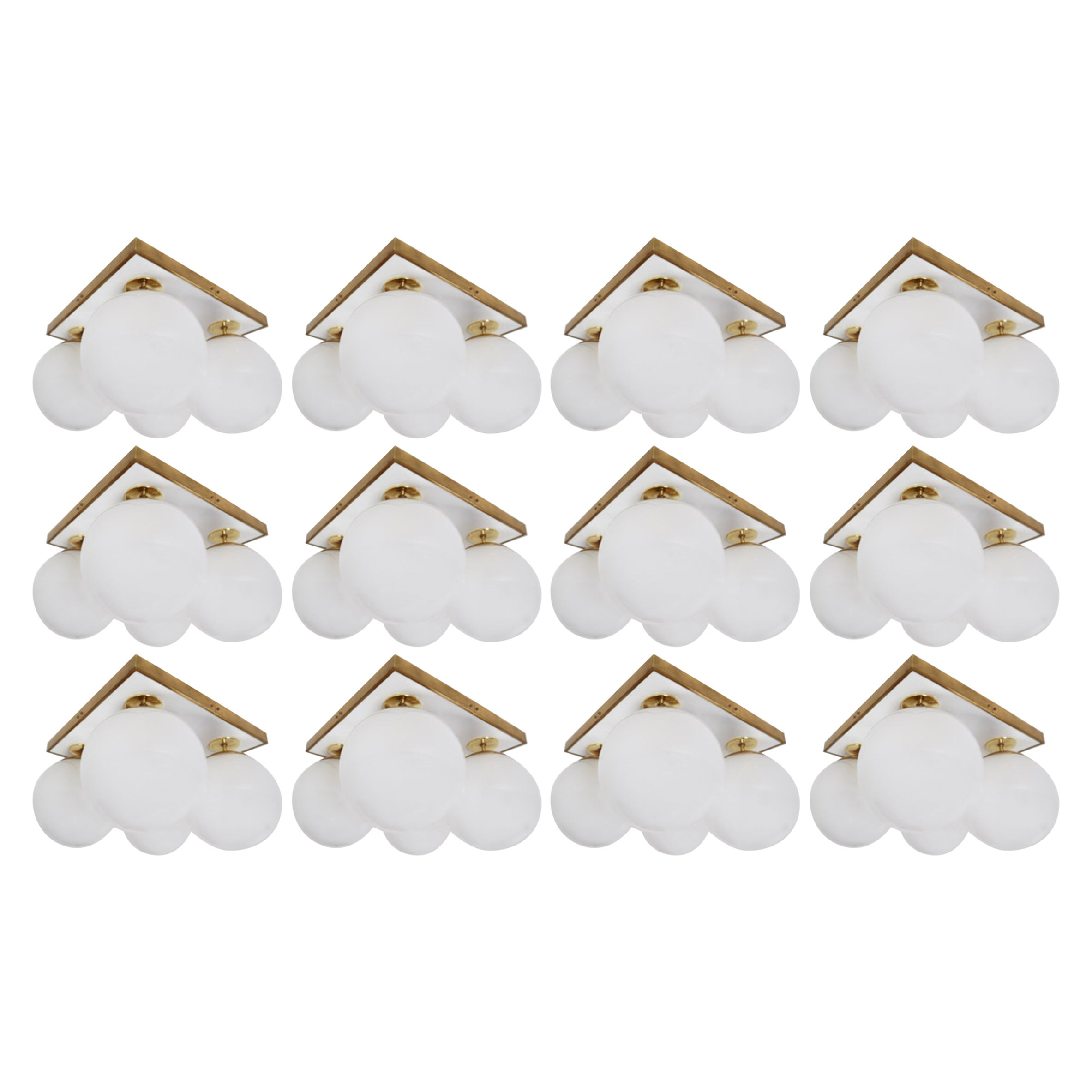 Set of Mid-Century Modern Ceiling Lights with Four Pearl White Glass Globes