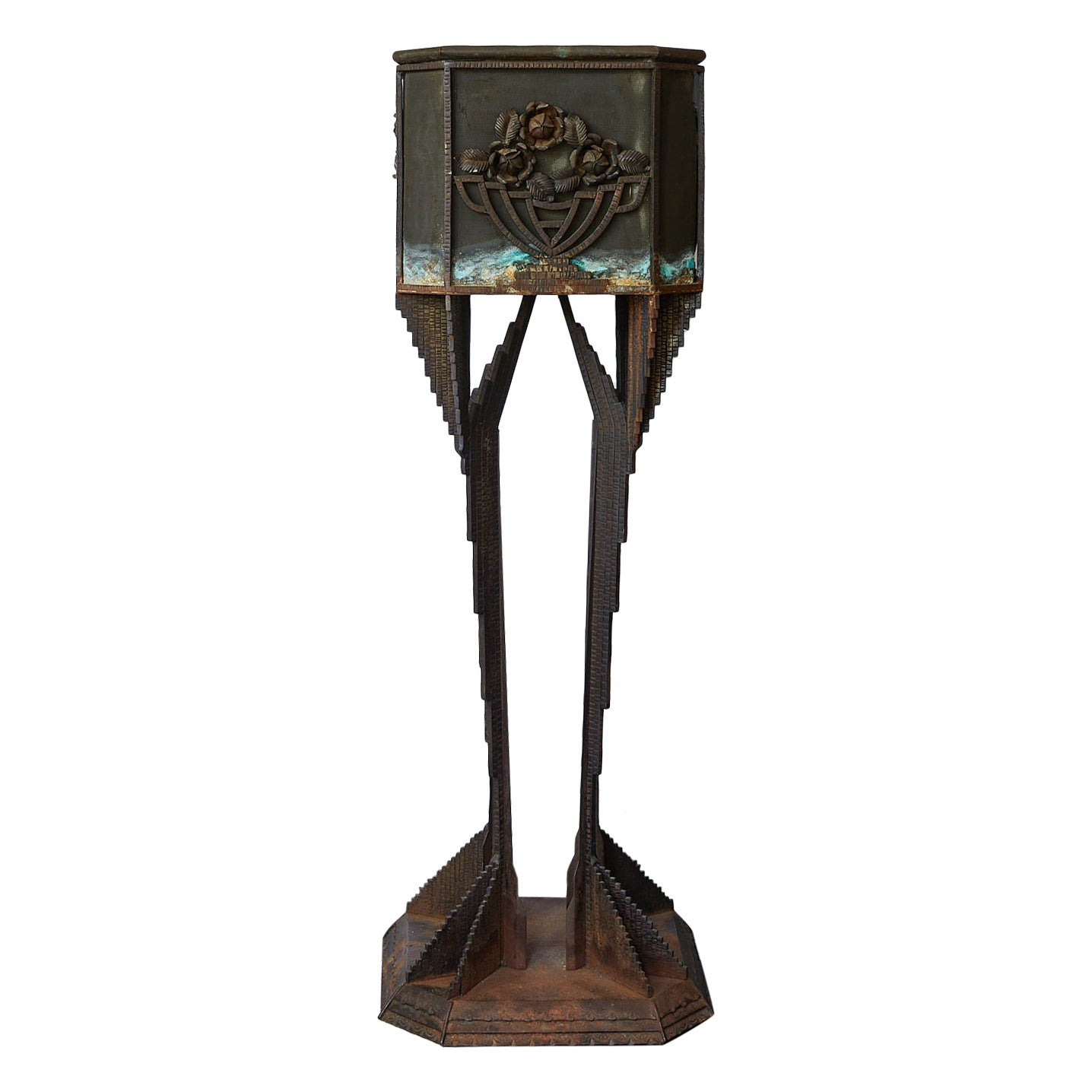 Art Deco Iron Pedestal Planter