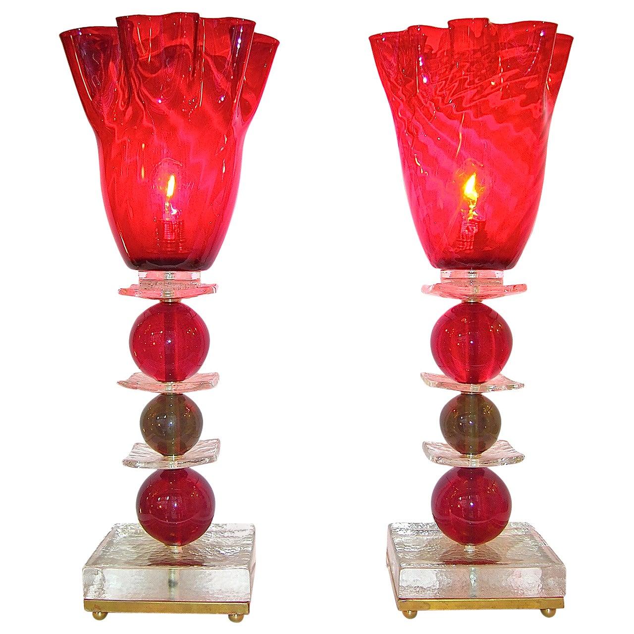 Italian Pair of Tulip Red Murano Glass Lamps, 1970s