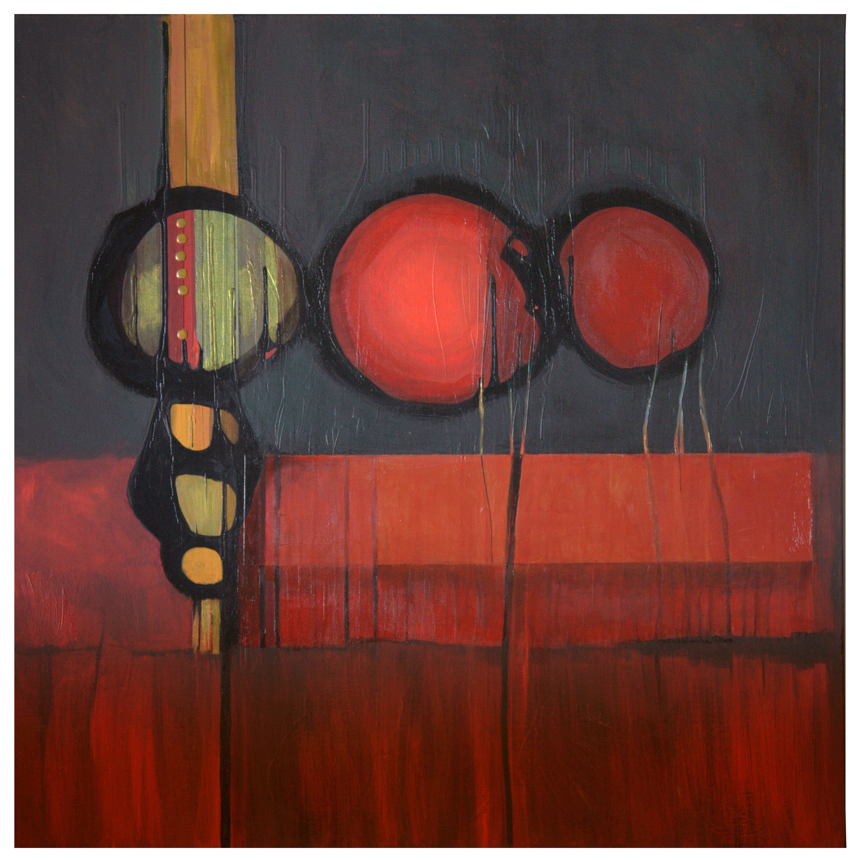 Marlene Burns Modern Abstract Acrylic Mixed-Media Painting Hot Mass, 2008