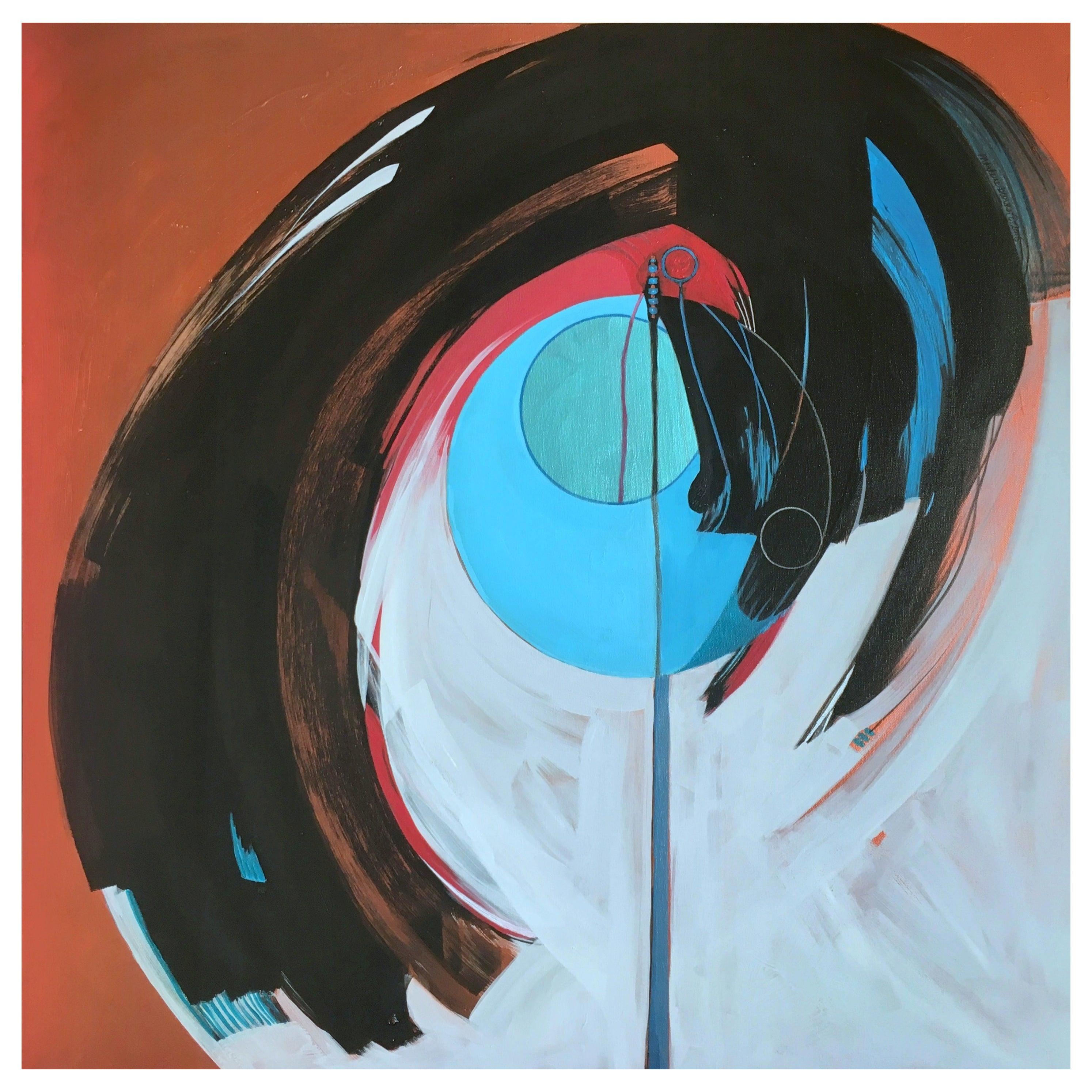 Marlene Burns Modern Abstract Acrylic Mixed-Media Painting Titled Eddy, 2018