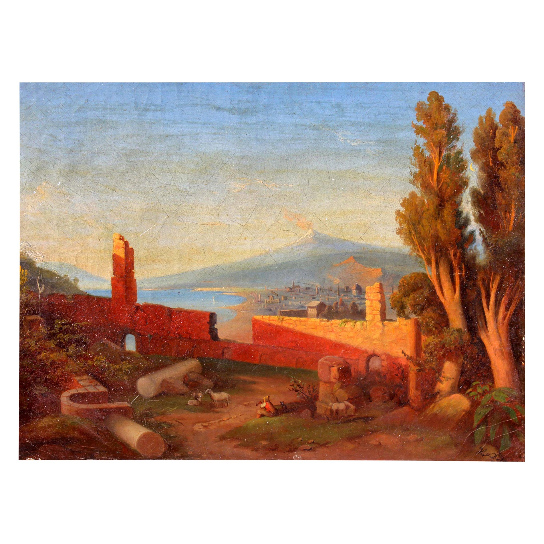 """Taormina and Mt Etna"" 19th Century Italian Oil Painting"