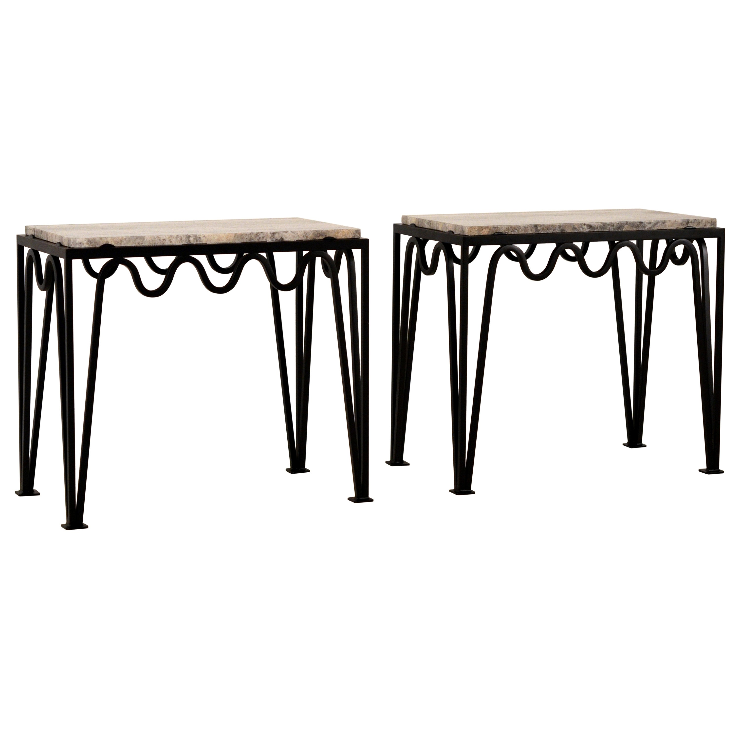 Pair of 'Méandre' Black Iron and  Silver Travertine Side Tables by Design Frères