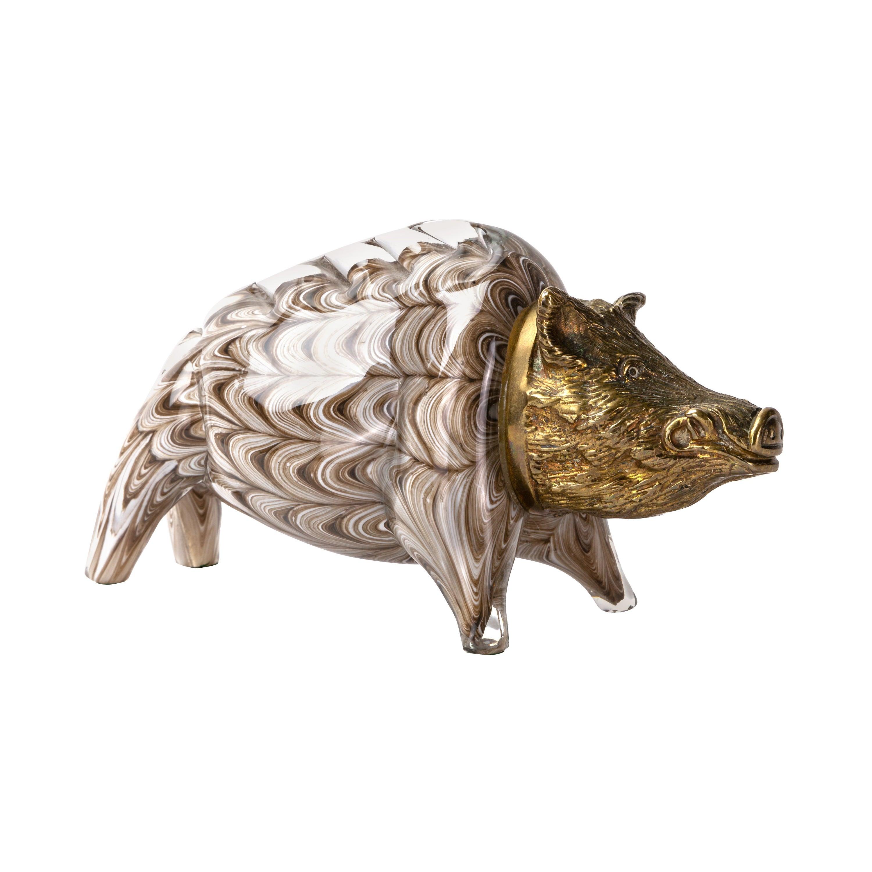 Gilt Bronze and Barovier Glass Boar Sculpture