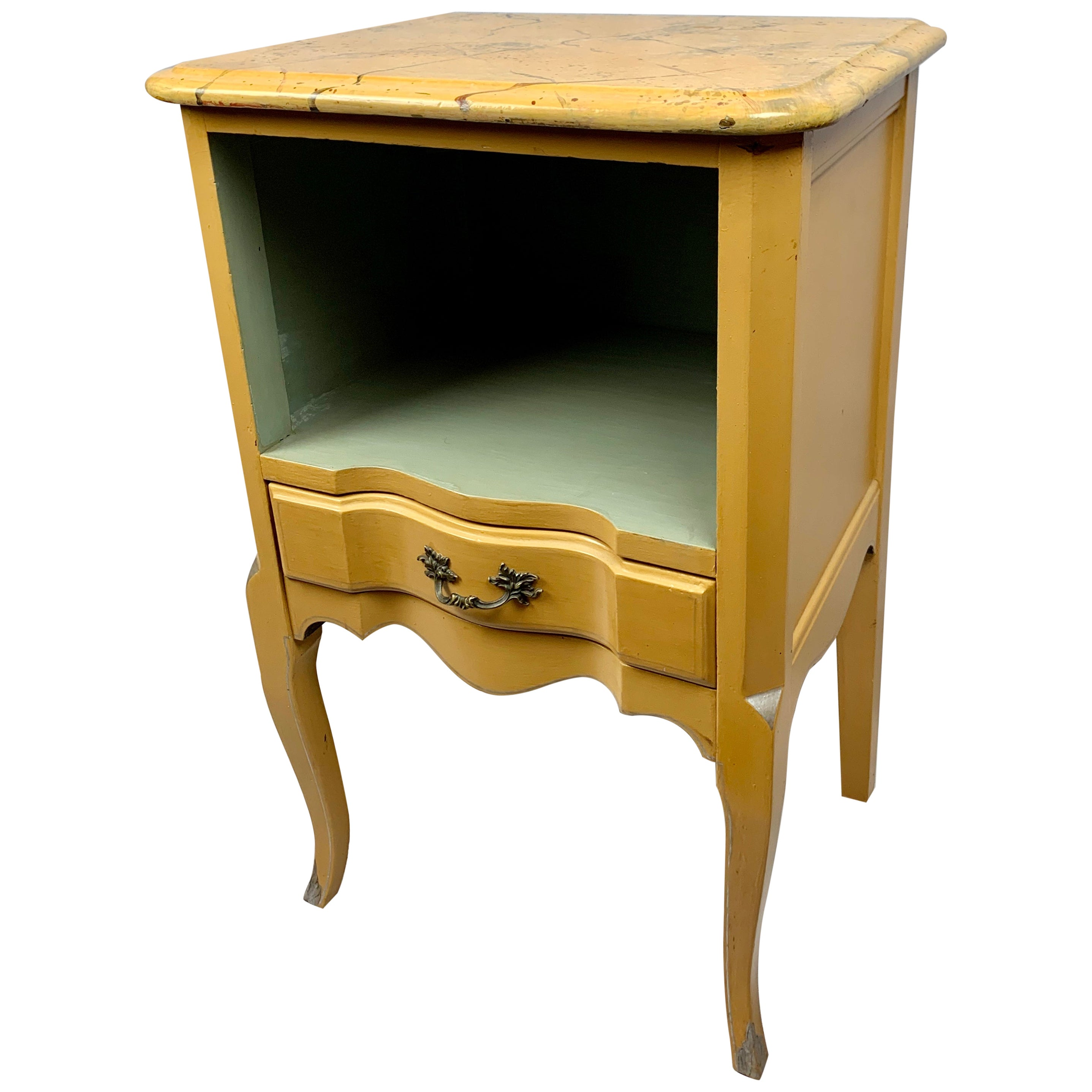 Occasional Table Painted Yellow with a Faux Marble Top-Louis XV Style