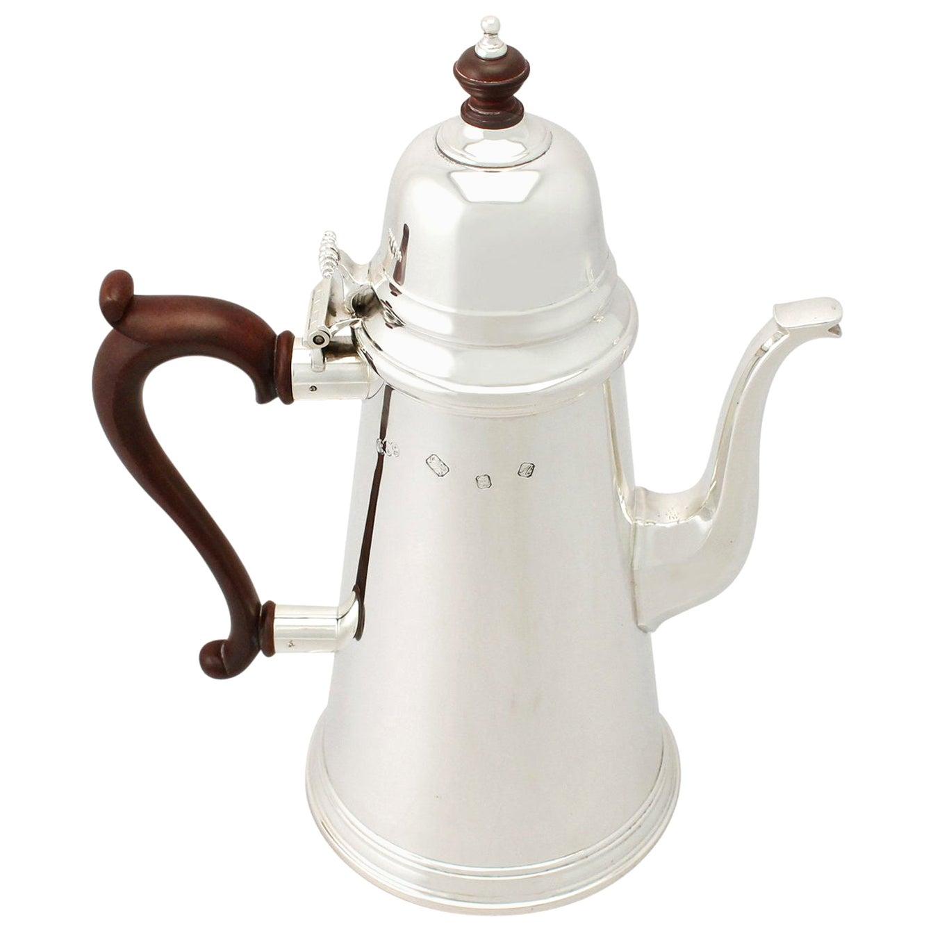 1970s Georgian Style English Sterling Silver Coffee Pot