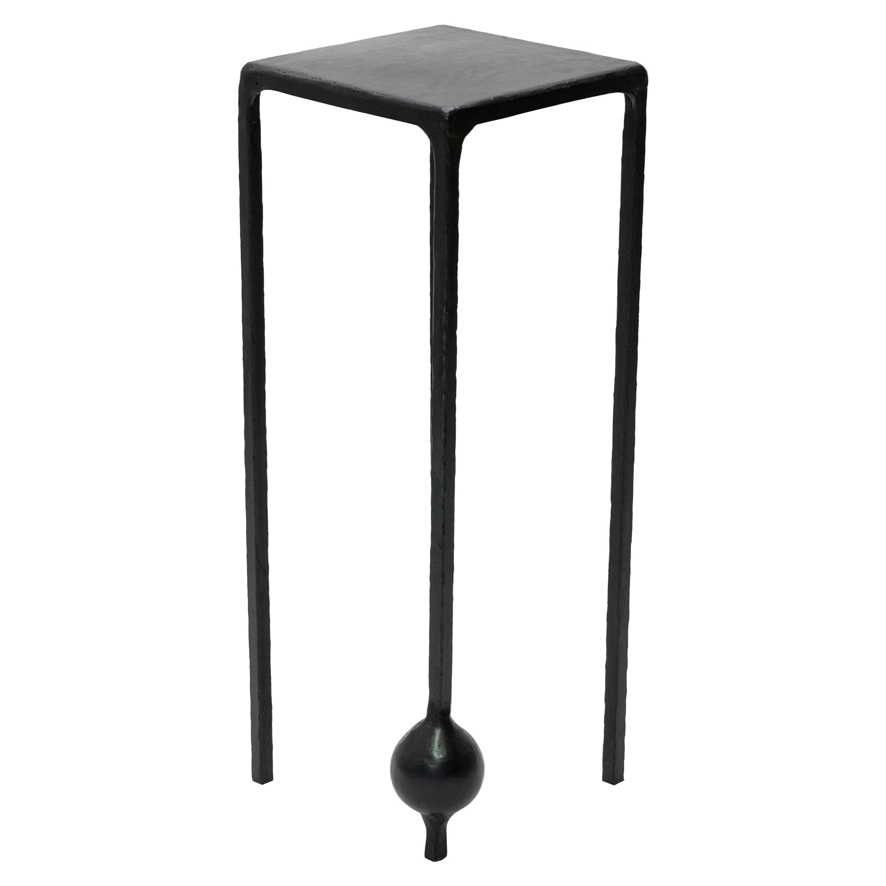 Pedestal Table Modern Dynamic Geometric Handcrafted Blackened and Waxed Steel