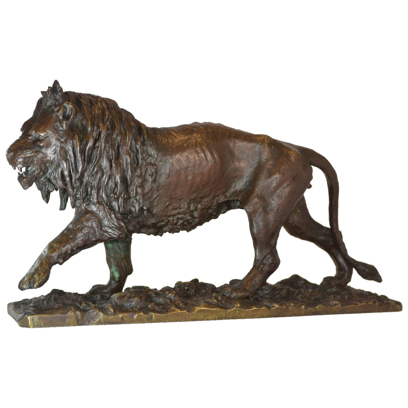 19th Century Bronze Lion Patina Medal by Fratin