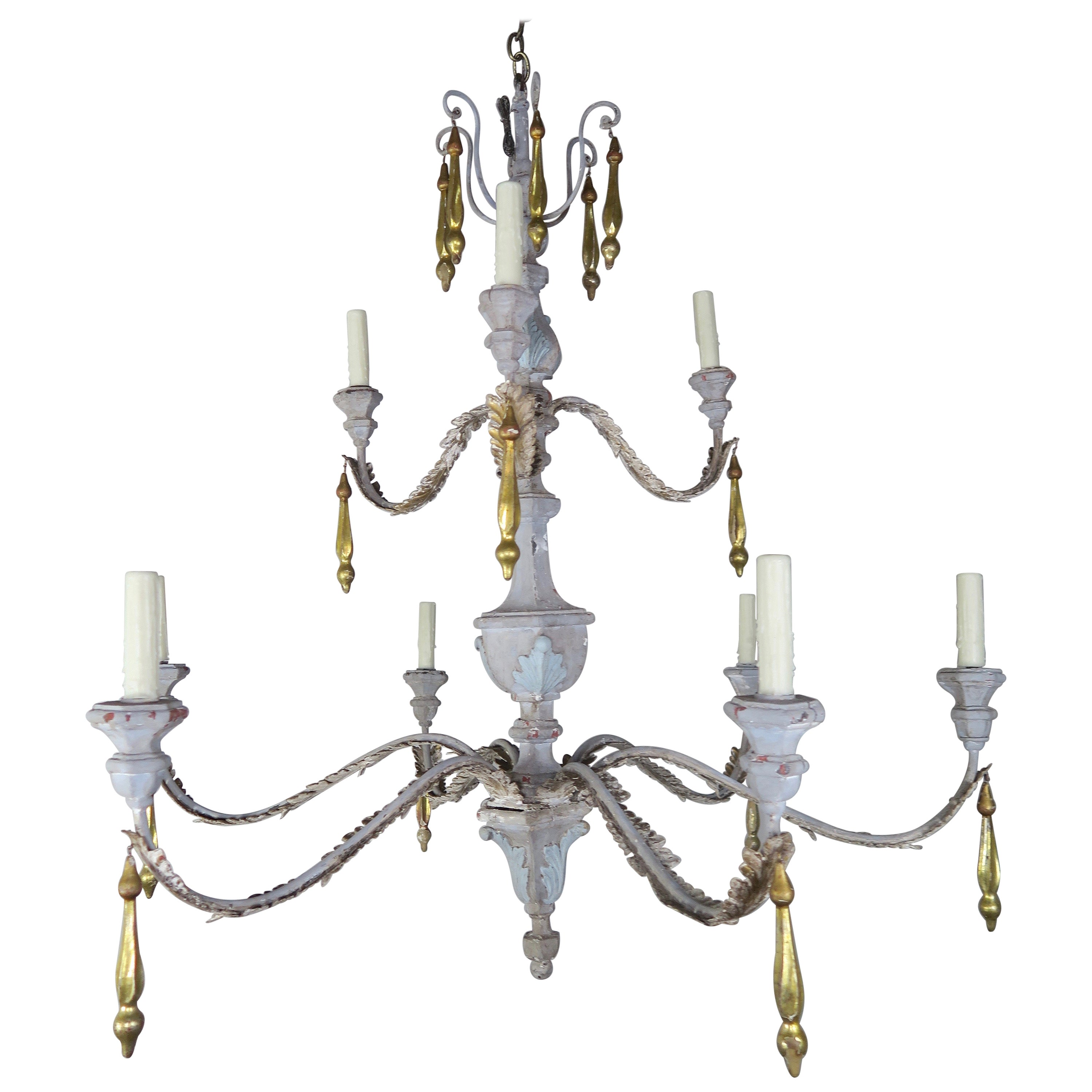 '10' Light Italian Painted and Parcel Gilt Two-Tier Chandelier with Tassels