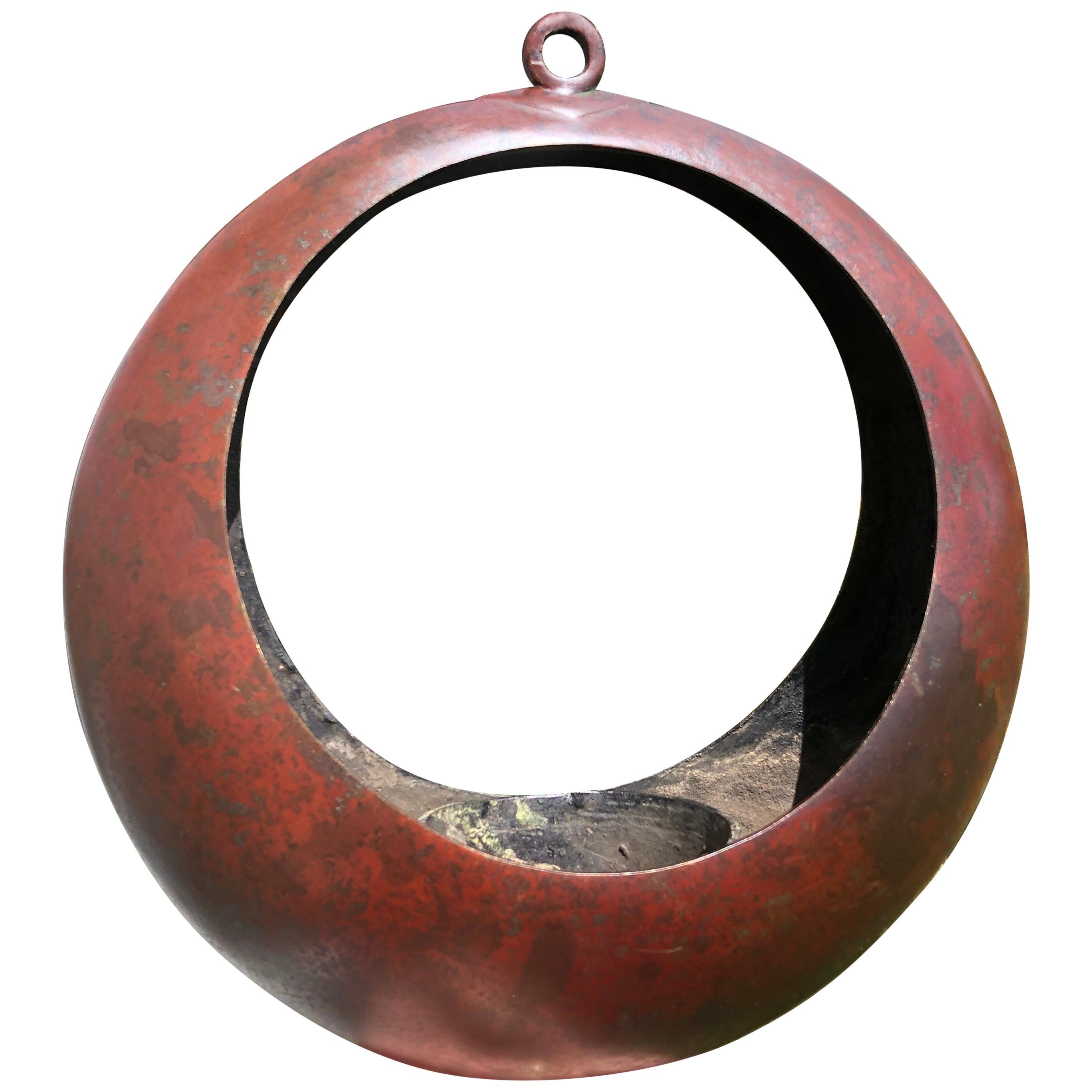 "Japanese Big Antique Red Bronze ""Full Moon"" Lantern Planter"