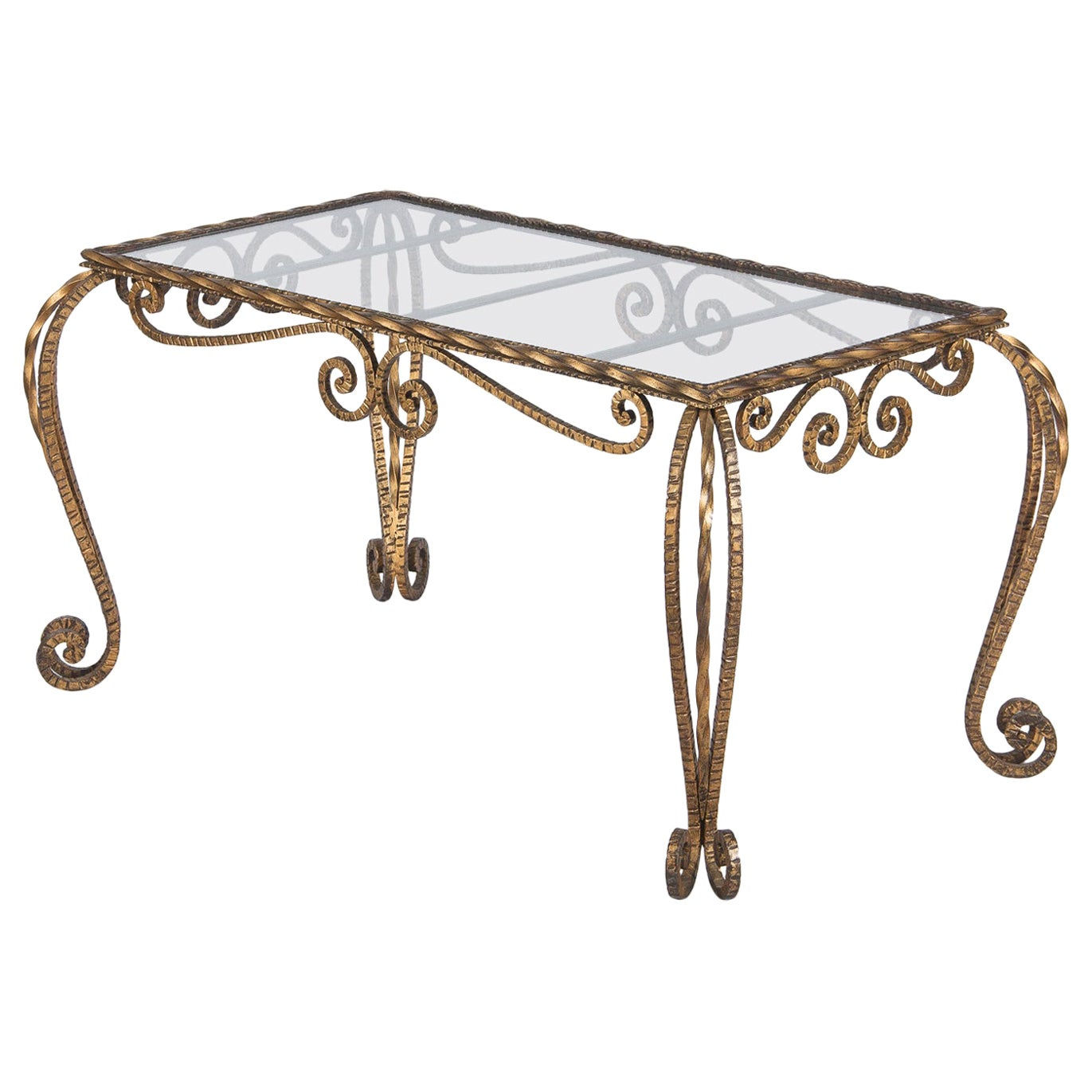 French Midcentury Gilded Metal Coffee Table with Glass Top, 1940s