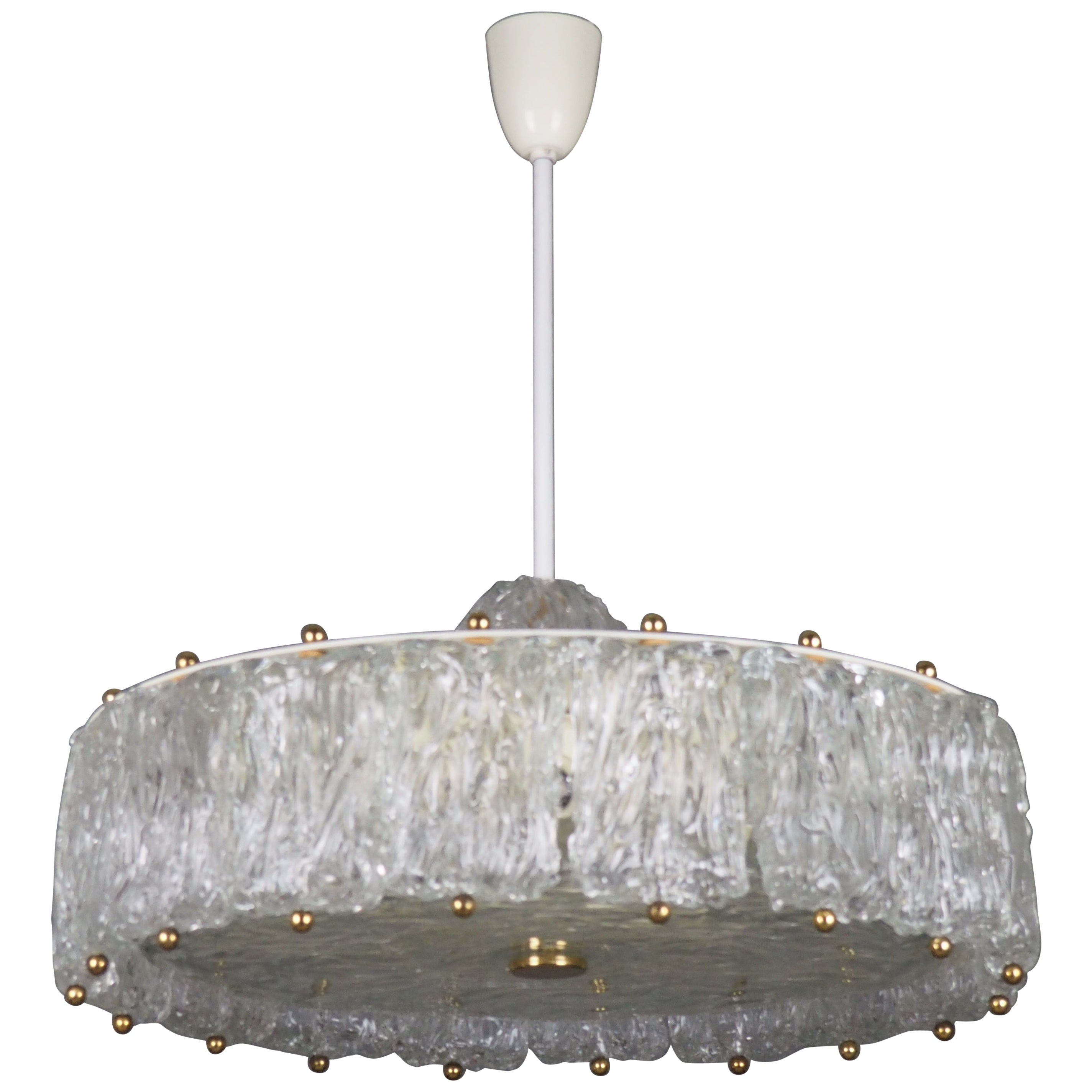Large Glass Drum Chandelier by Aureliano Toso, circa 1960s