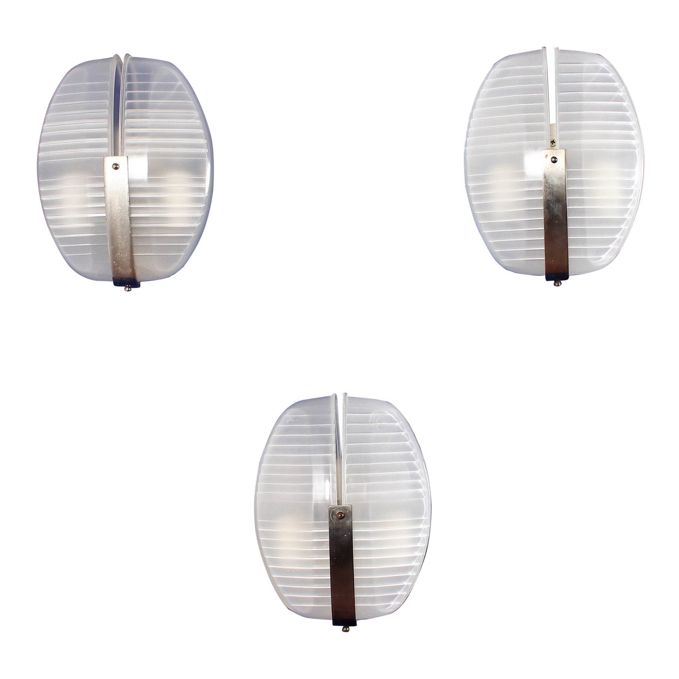 """Magistretti for Artemide """"Lambda"""" Brass  Crystall Sconces, 60s Italy, set of 3"""