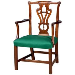 Chippendale Period Carved Mahogany Armchair