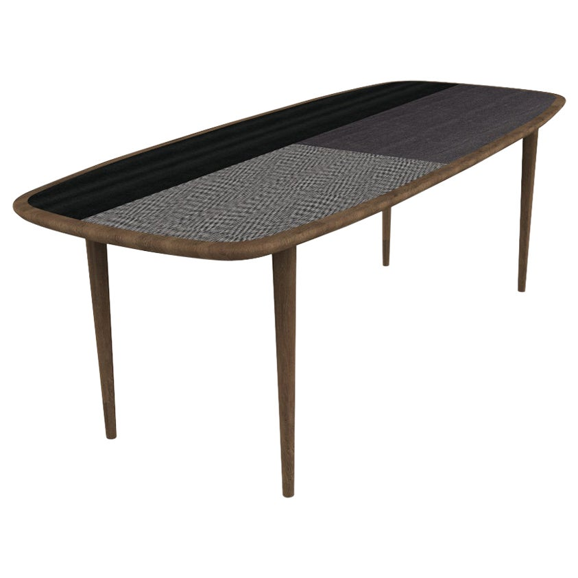 Kanan Luxury Dining Table, Walnut Canaletto Structure and Four Wooden Veneers
