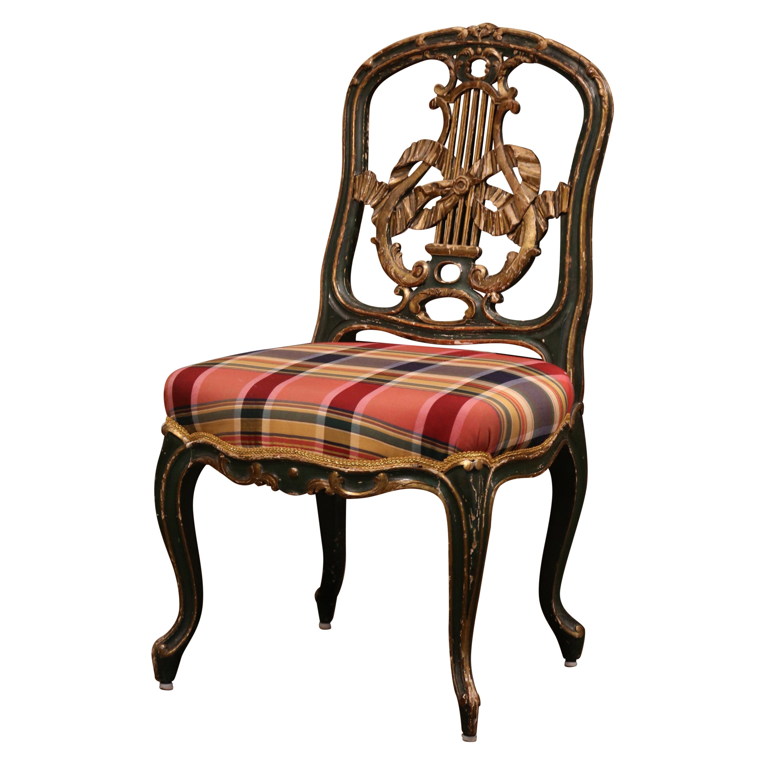 19th Century French Louis XV Carved Painted and Gilt Occasional or Vanity Chair