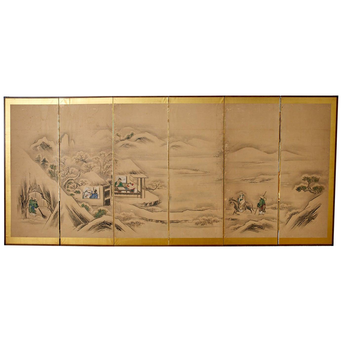 Japanese Six Panel Kano School Winter Landscape Screen