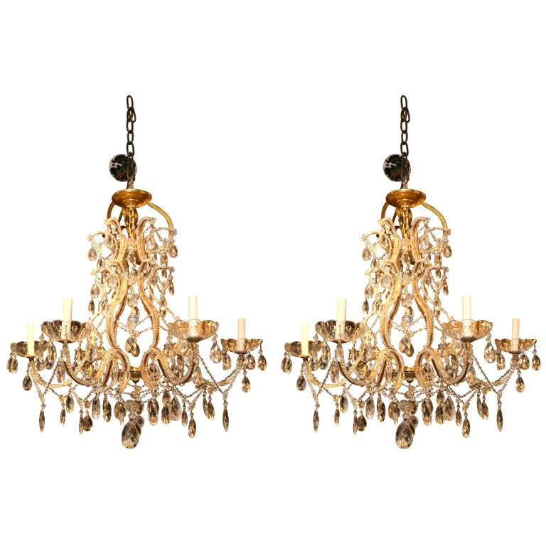 Pair of Gilt Metal Chandeliers with Crystals, Sold Individually