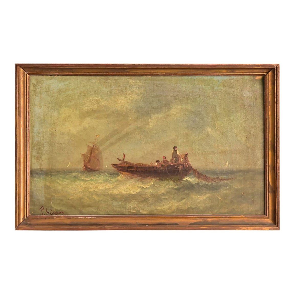 19th Century Marine Oil Painting by Paul Seignon