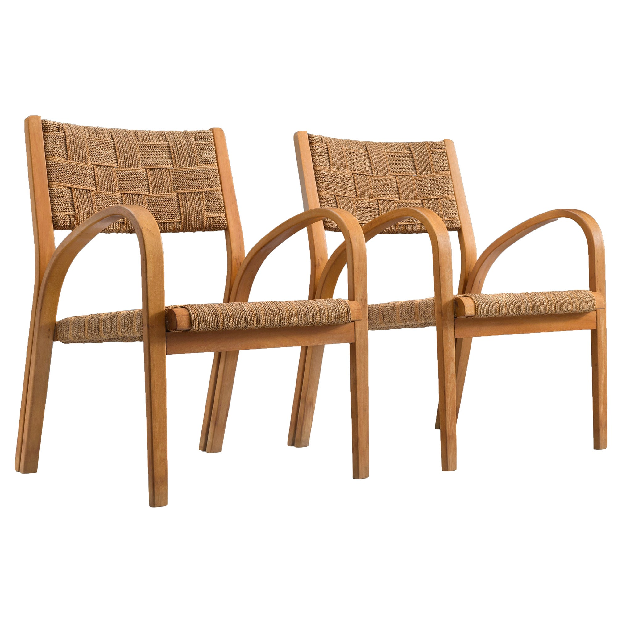 Italian Rope Lounge Chairs with Ottoman, circa 1940