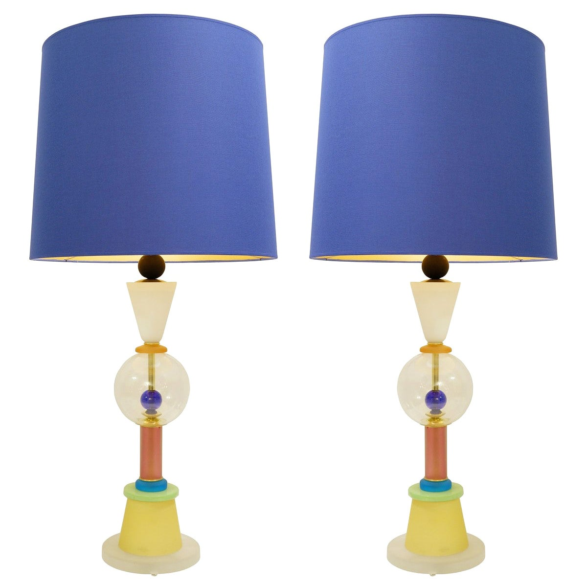 Pair of Italian Murano Lamps in Colored Sandblasted Glass