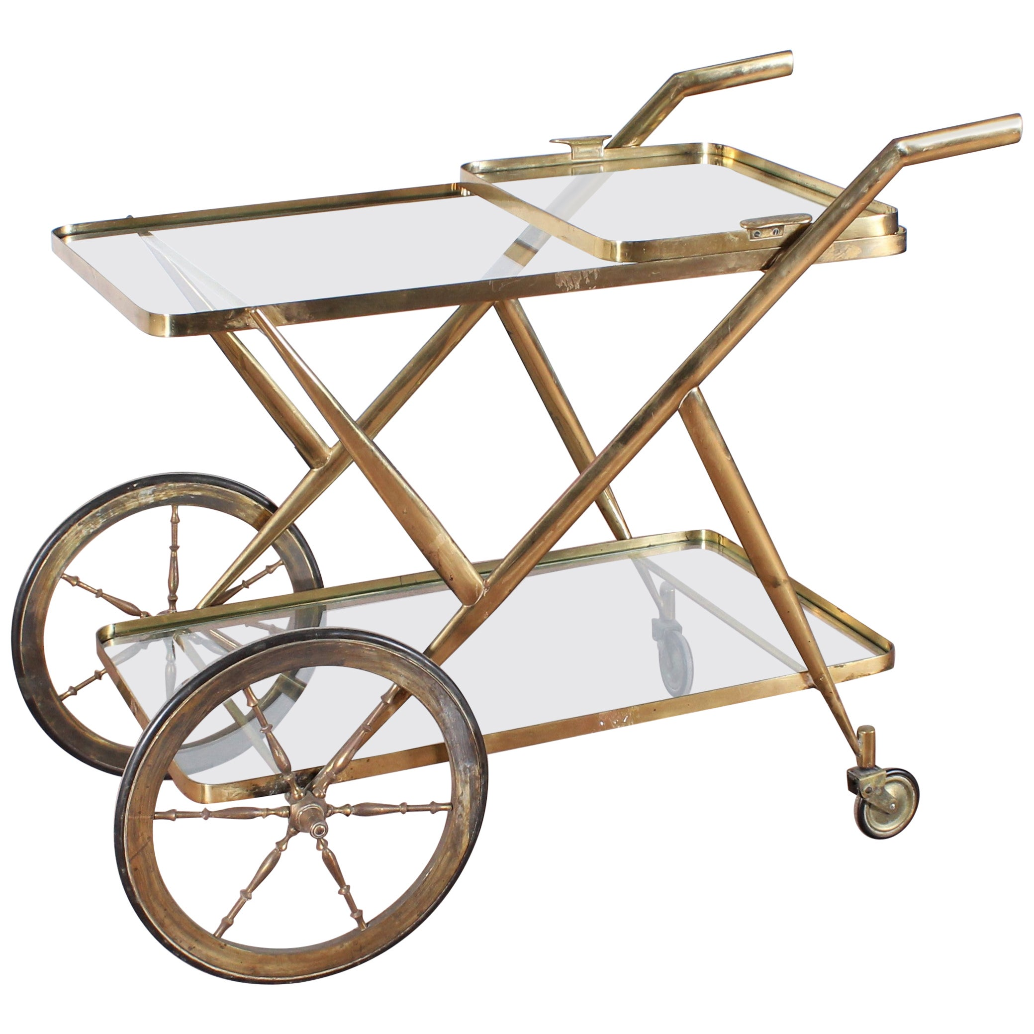 Midcentury Cesare Lacca Vintage Solid Brass Serving Bar Cart, Italy, 1950s