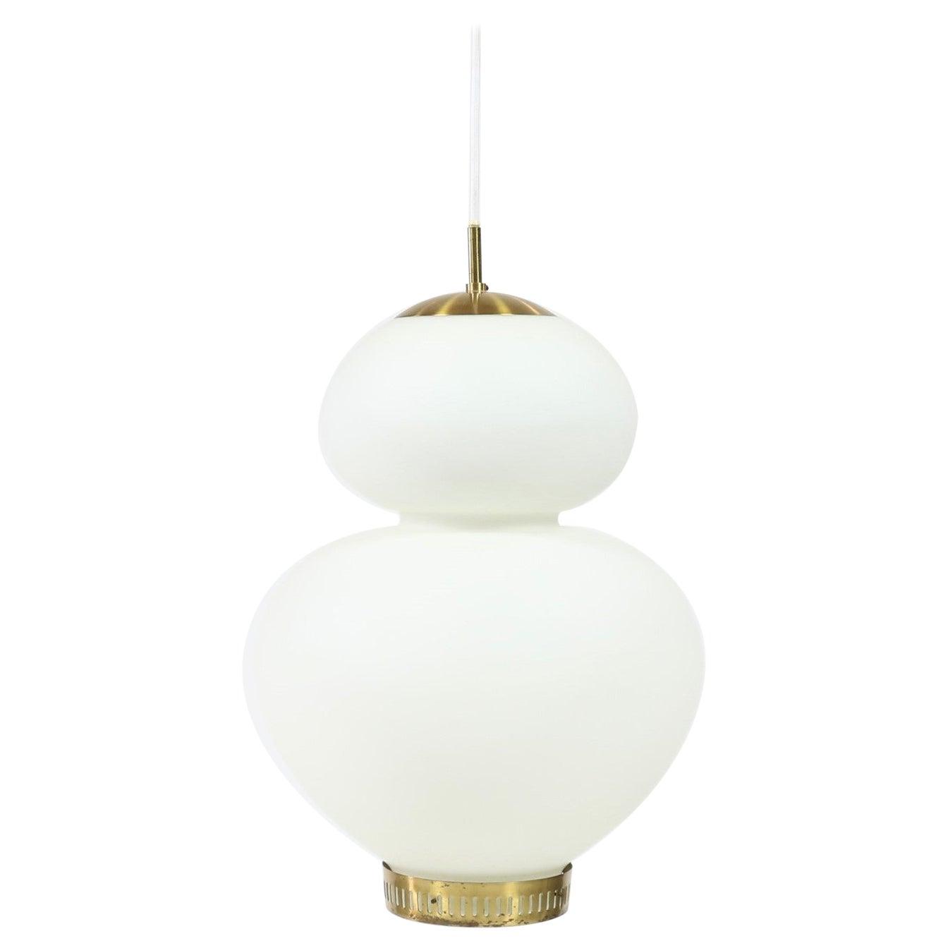 "Huge Danish Modern Brass and Opal Glass ""Peanut"" Pendant by Bent Karlby for LYFA"