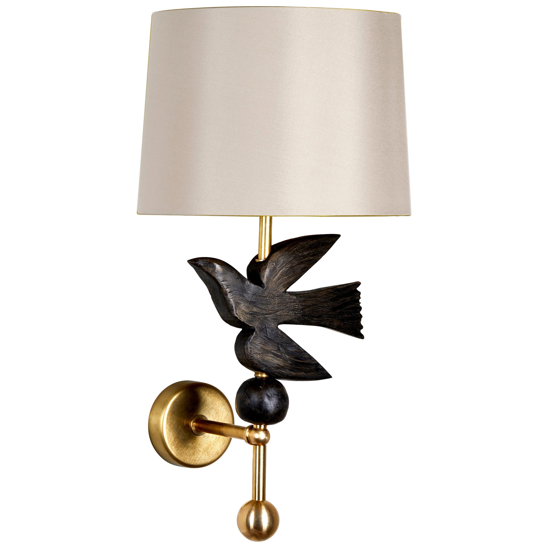 'Bird in Flight' Wall Light in Brass and Resin by Margit Wittig
