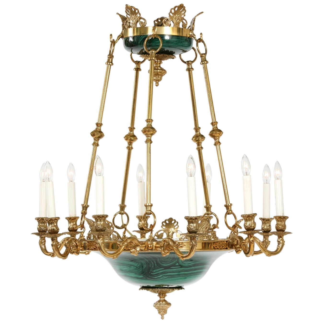 Empire Style Lacquered Metal / Gilt Bronze Chandelier
