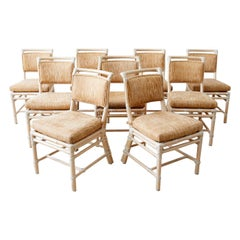 Set of Nine McGuire Cerused Rattan Dining Chairs