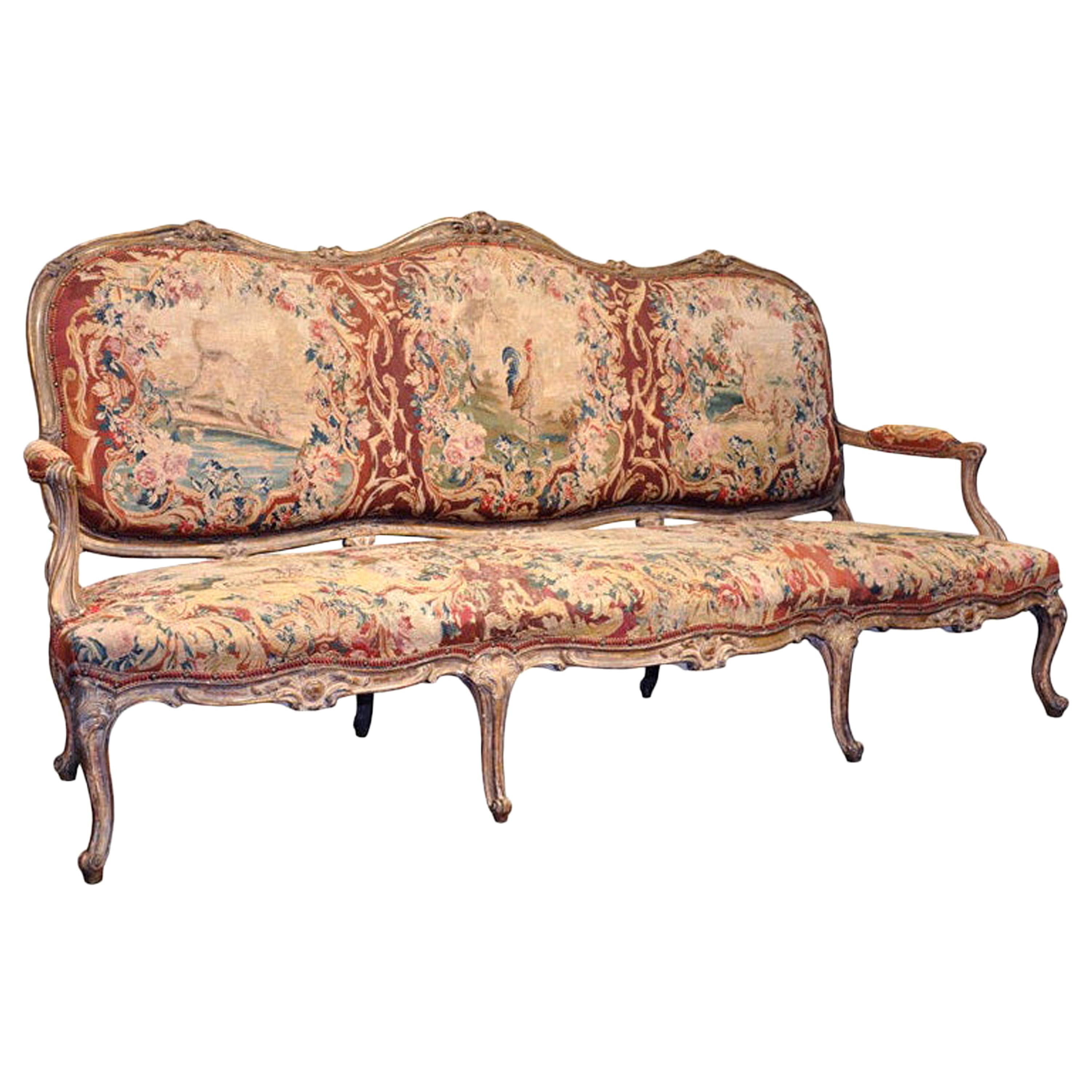 18th Century French Louis XV Carved Giltwood Canapé with Aubusson Tapestry