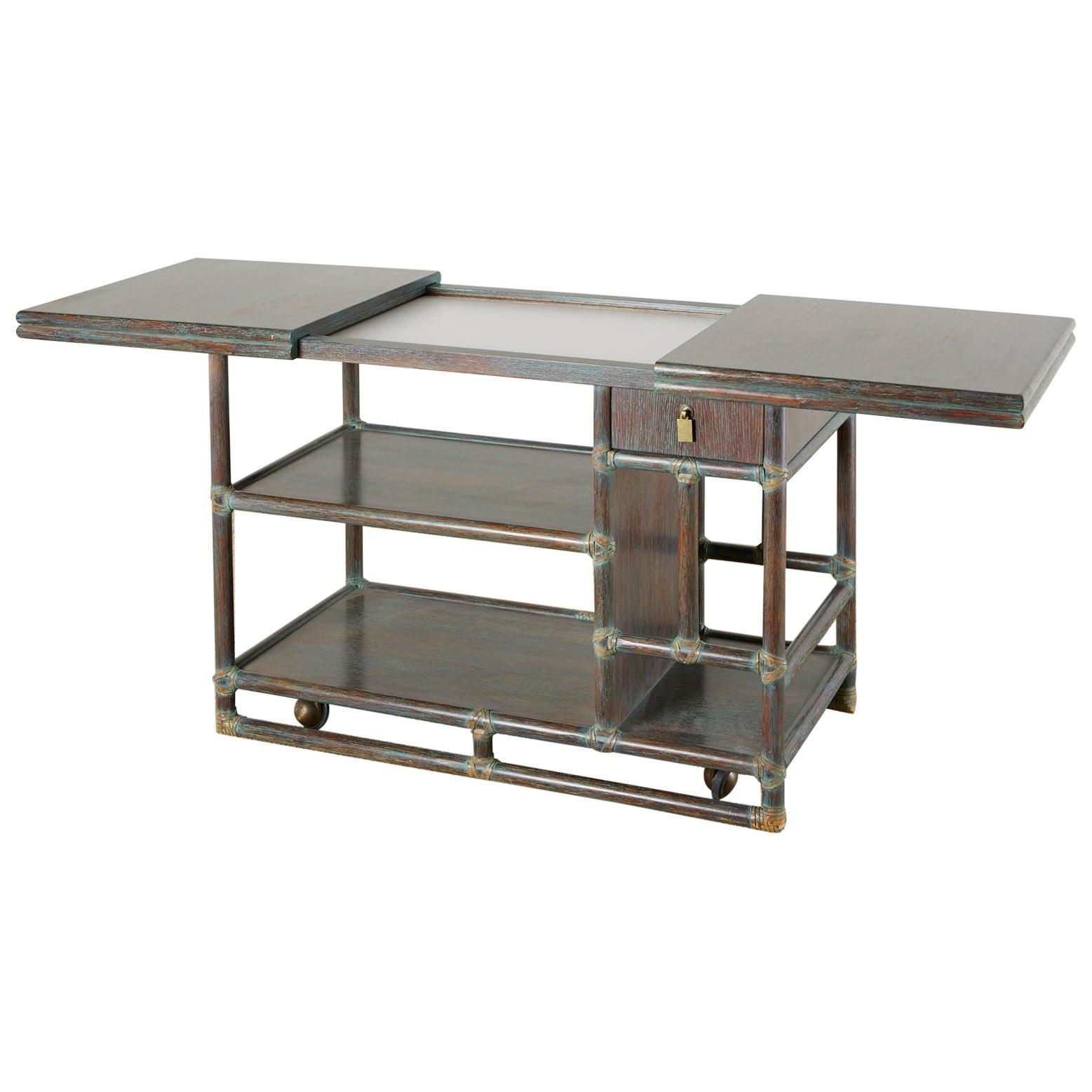 McGuire Cerused Rattan Oak Bar Cart Server Buffet