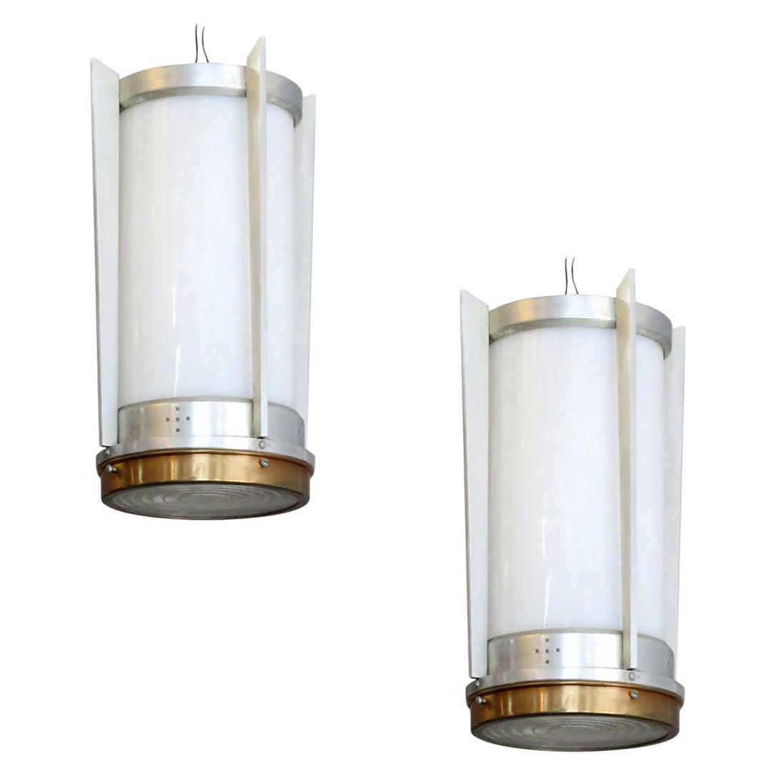 Midcentury Aluminum Cylinder Hanging Lamp, circa 1960