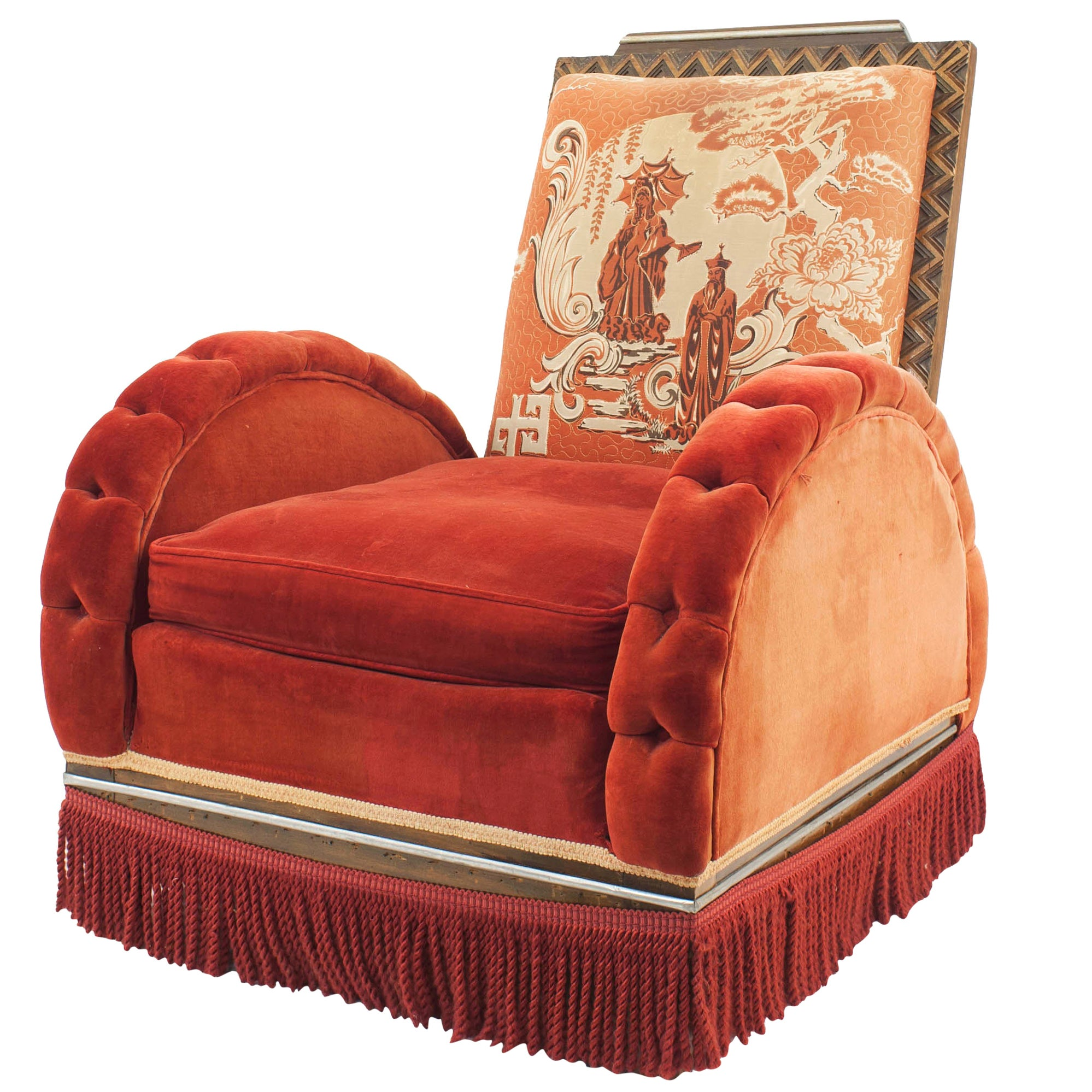 Art Deco Red Velvet Arm Chair
