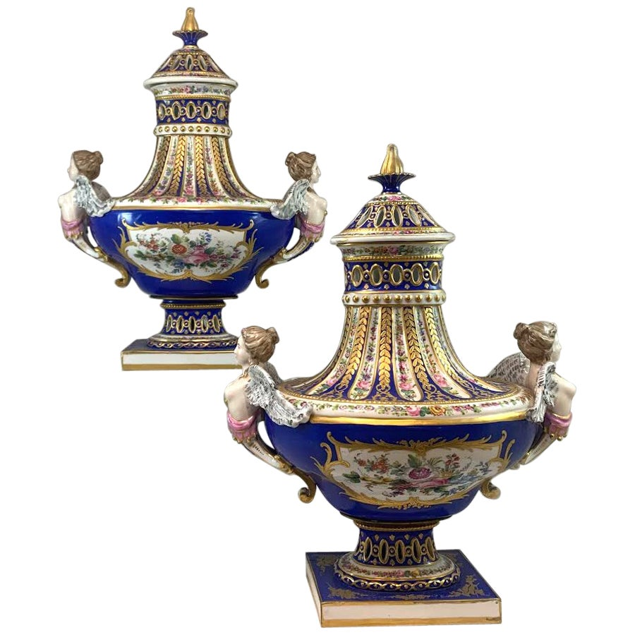 Pair of 19th Century Sèvres Hand Painted Reticulated Covered Urns